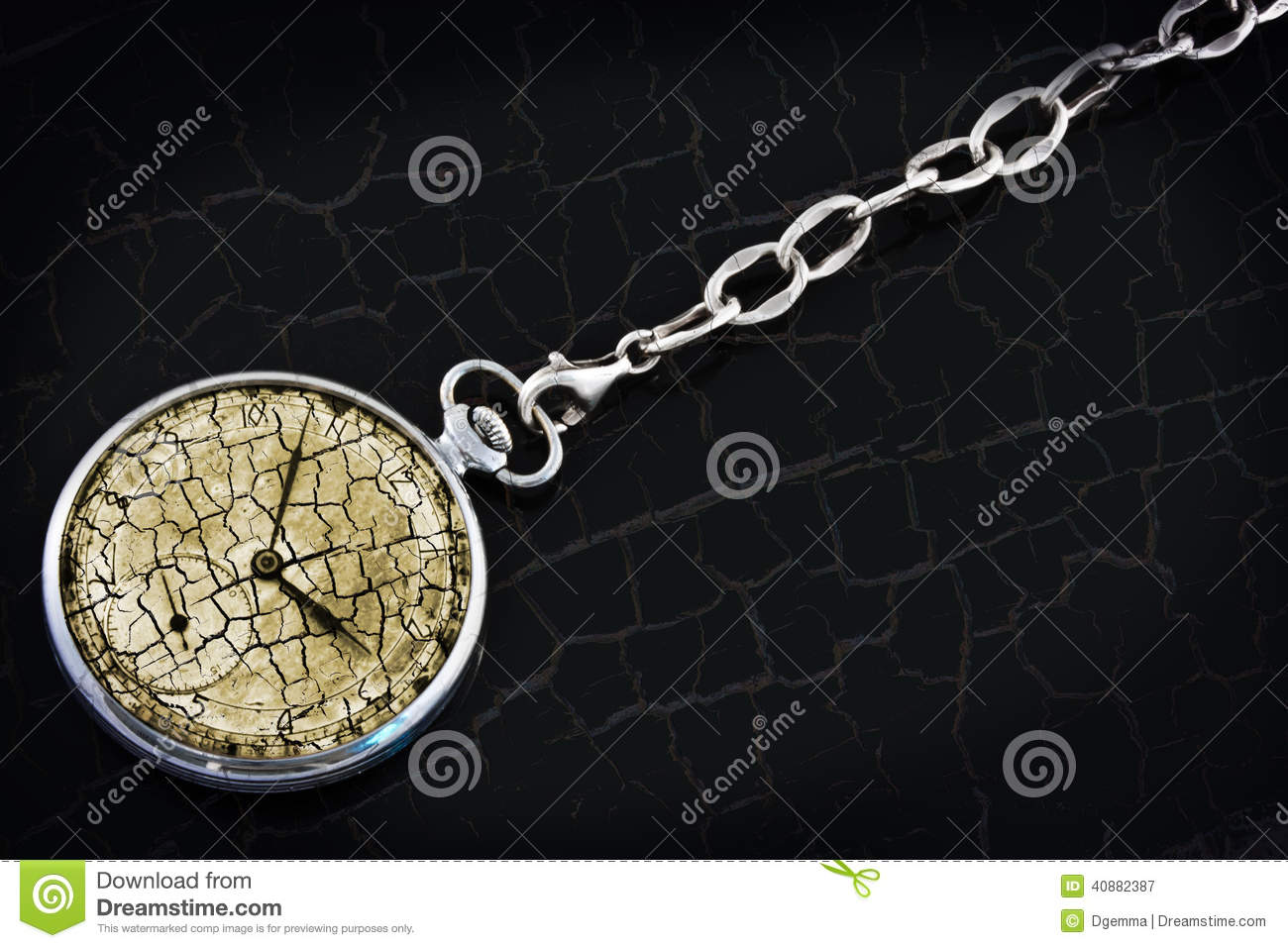 Antique pocket watch on a silver chain