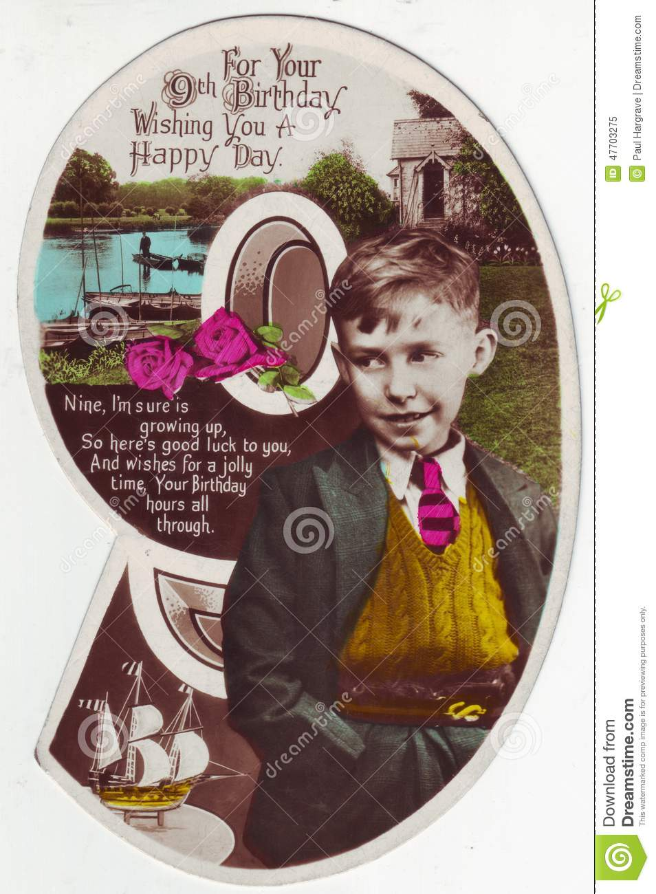 Antique Birthday Greeting Card English With Verse To A 9 Year Old Boy Shaped As Number