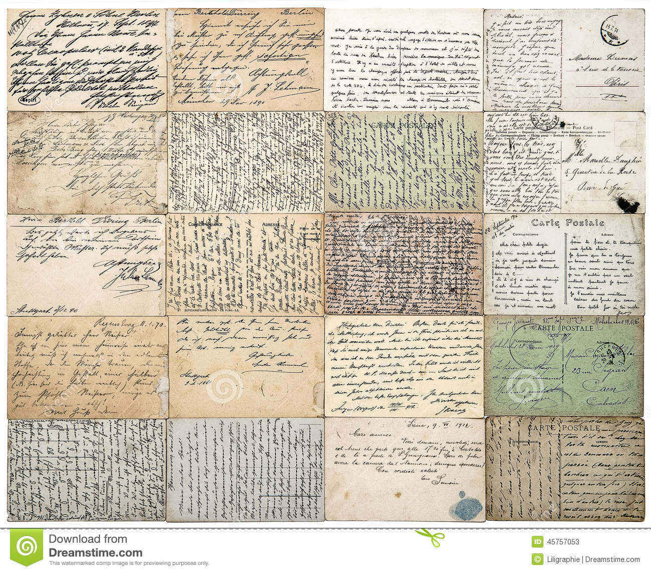 antique postcards. old handwritten undefined texts. french carte postale
