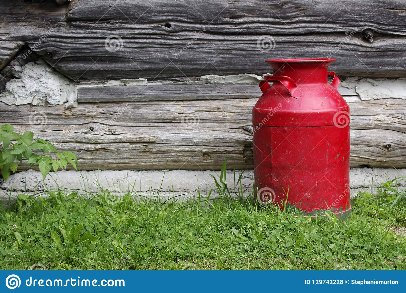 Antique Red Milk Can By Old Wooden Wall Stock Photo Image Of Copy
