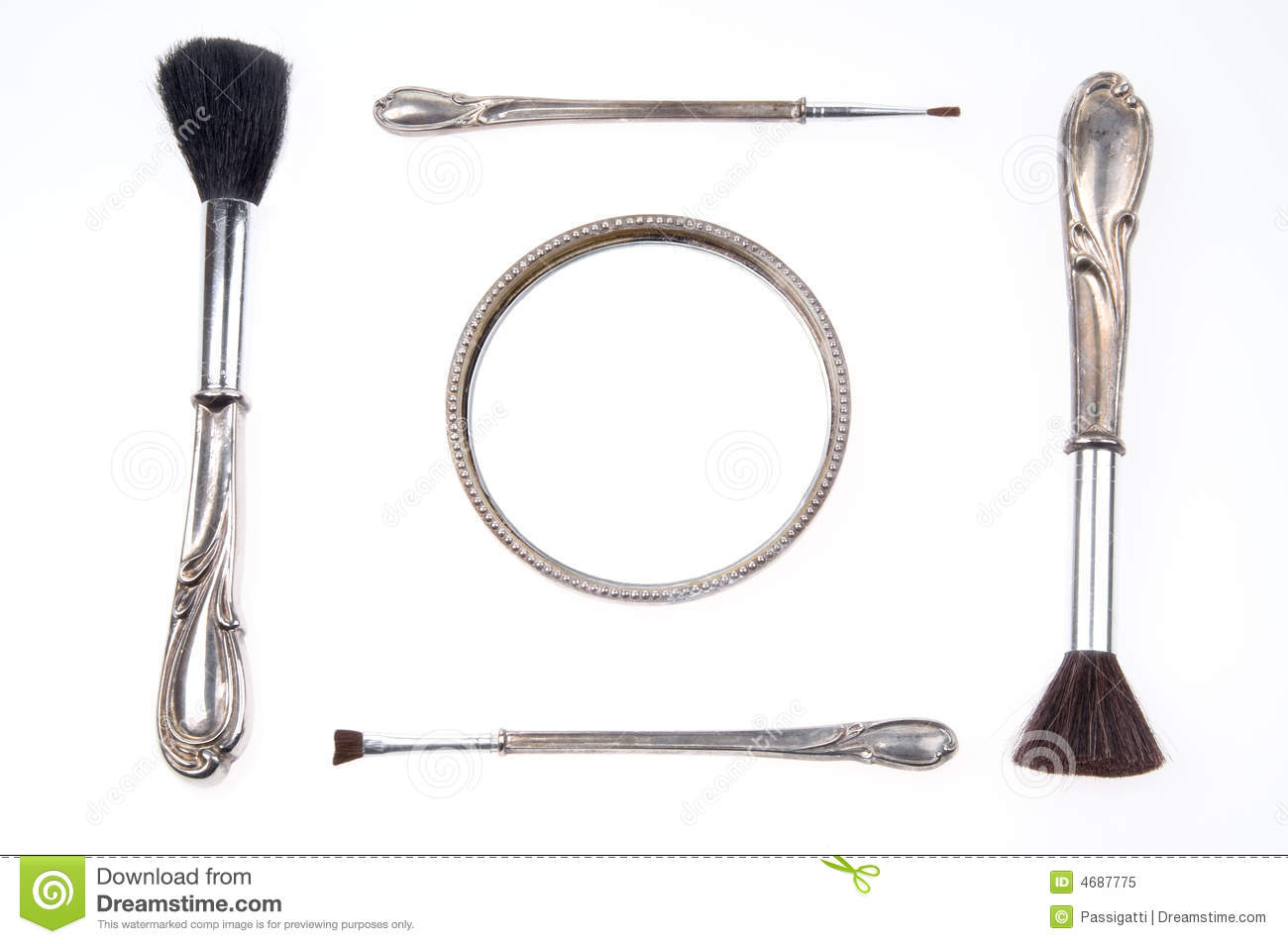 Antique Retro Makeup Brush Set And Mirror Royalty Free