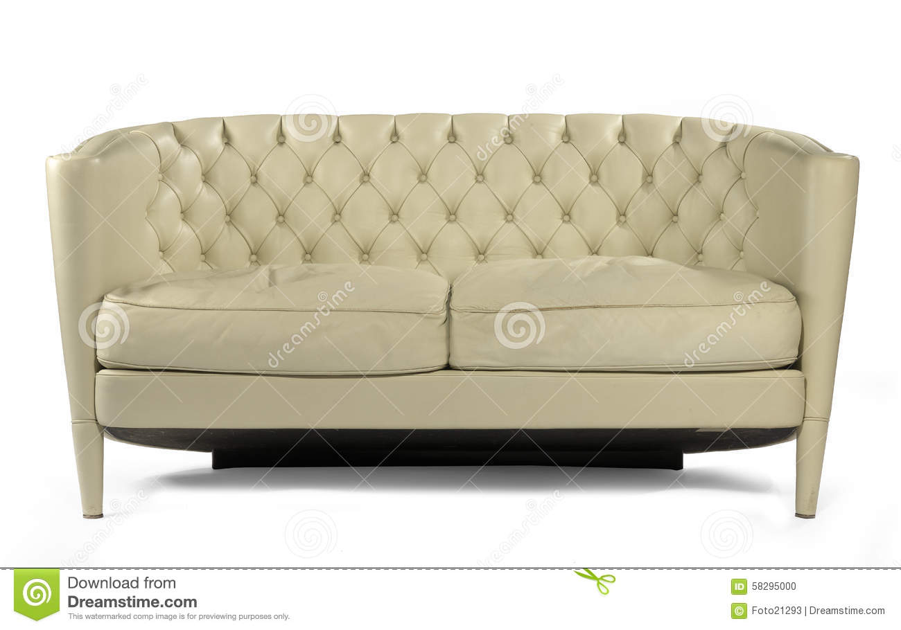 antique retro sofa couch cream leather isolated on white. Black Bedroom Furniture Sets. Home Design Ideas
