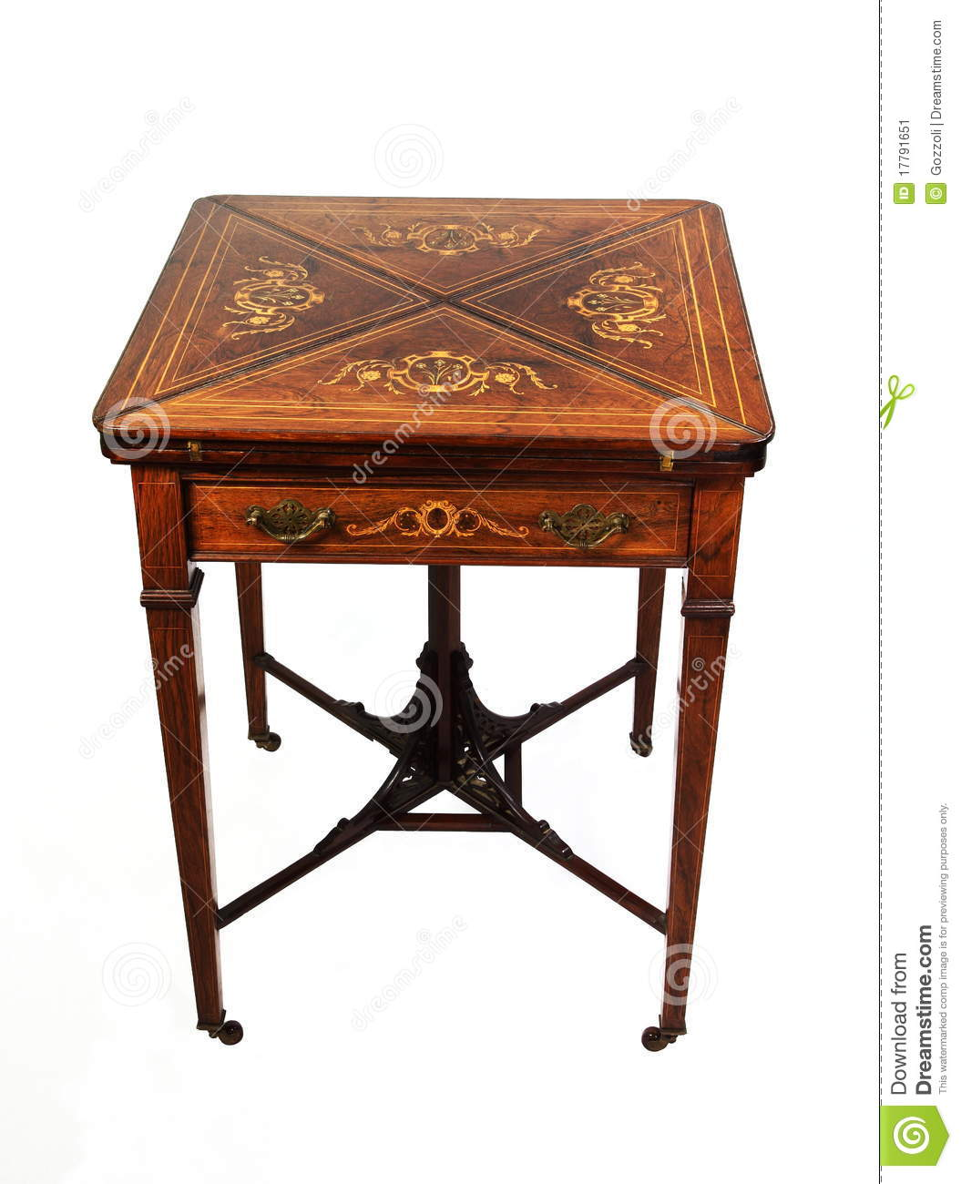 Antique Rosewood Card Table Stock Image Image Of Table Edwardian