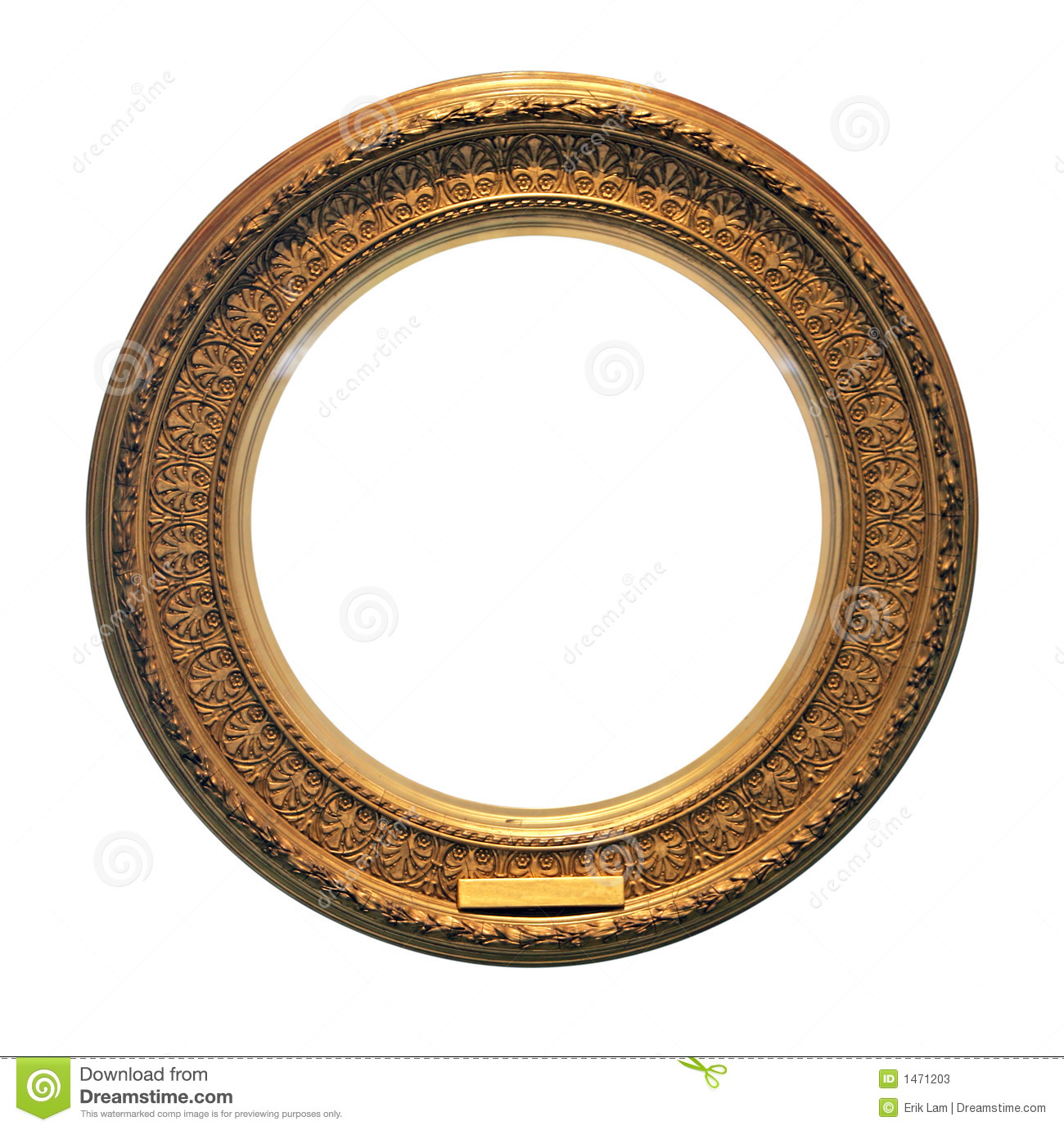 Antique Round Golden Frame With Clipping Path Stock