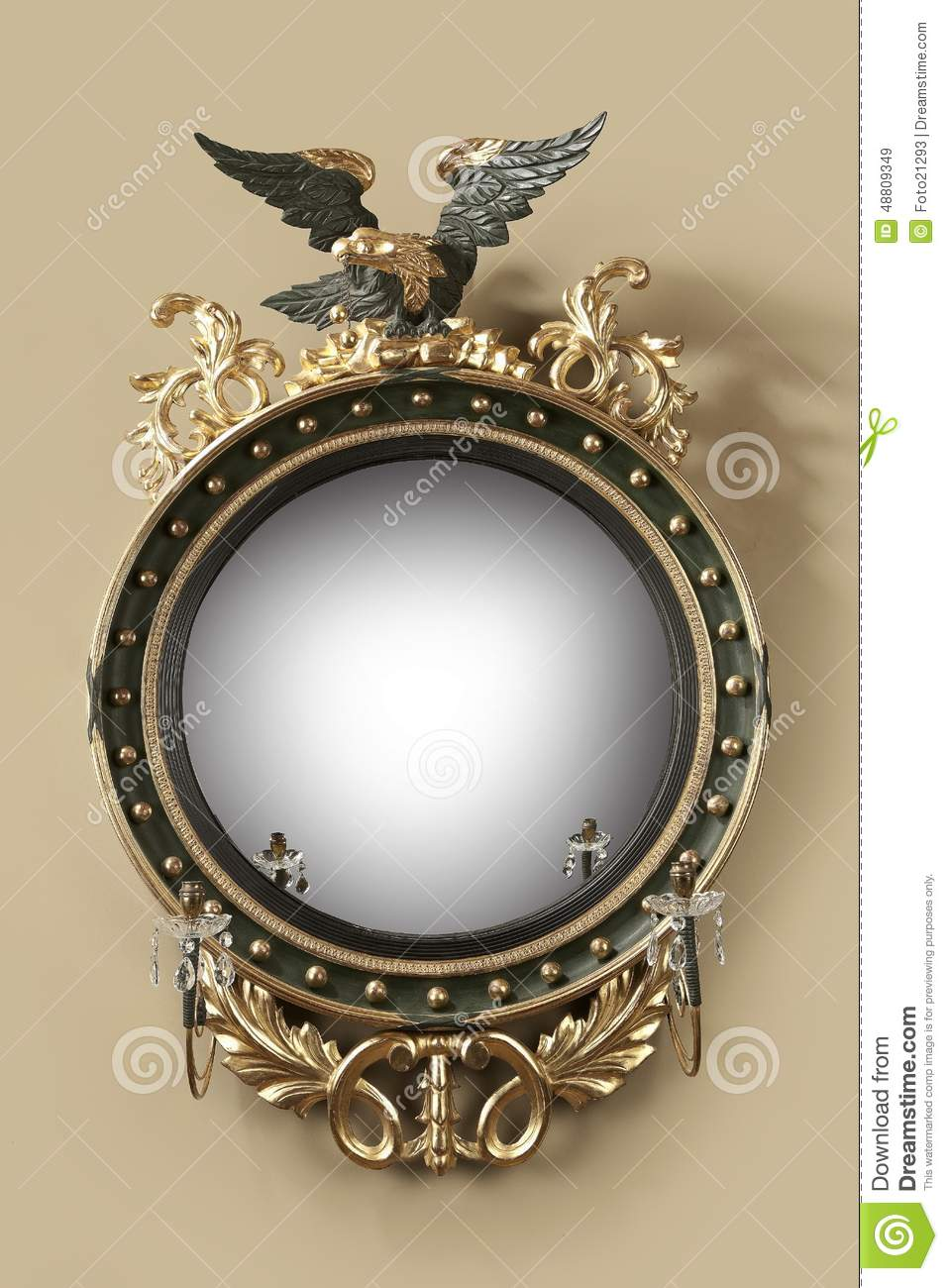 Antique Round Hall Mirror Stock Image Image Of Gold