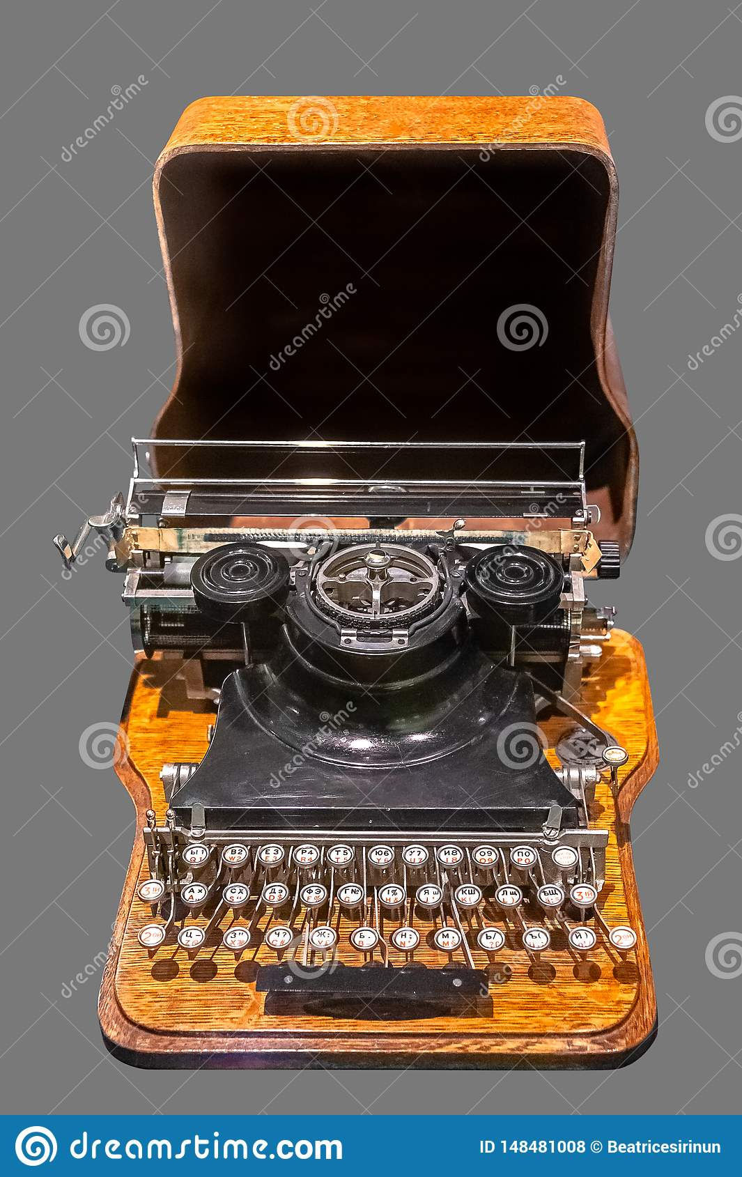 3ae4a146a48 Old vintage Russian typewriter on isolated gray background with clipping  path.