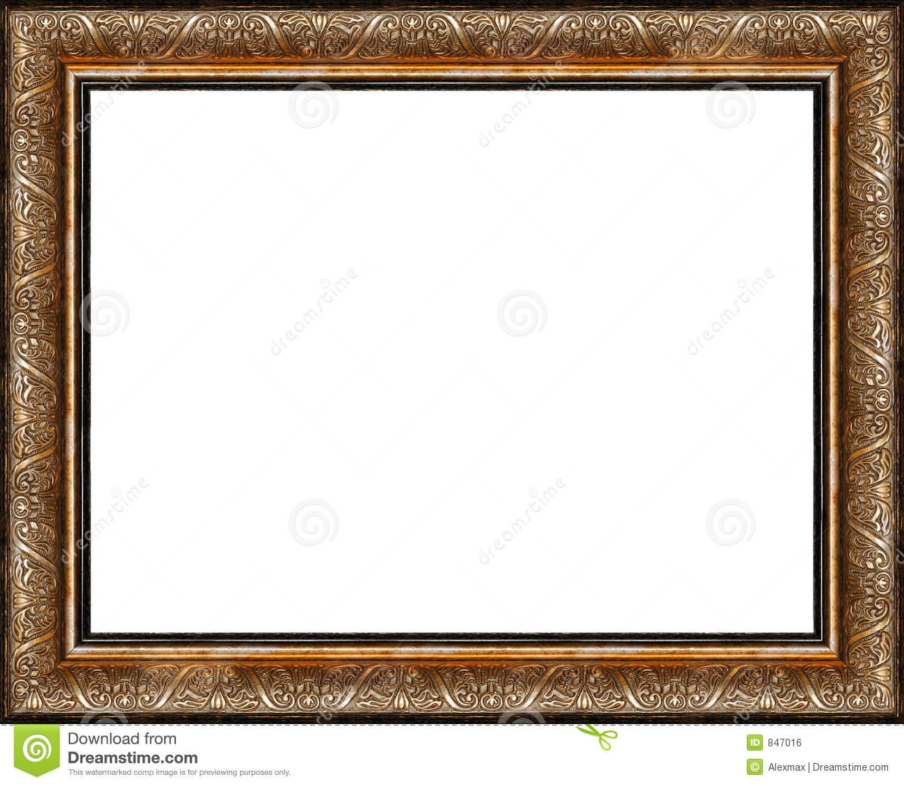 Antique Rustic Dark Golden Picture Frame Isolated Stock Photo ...