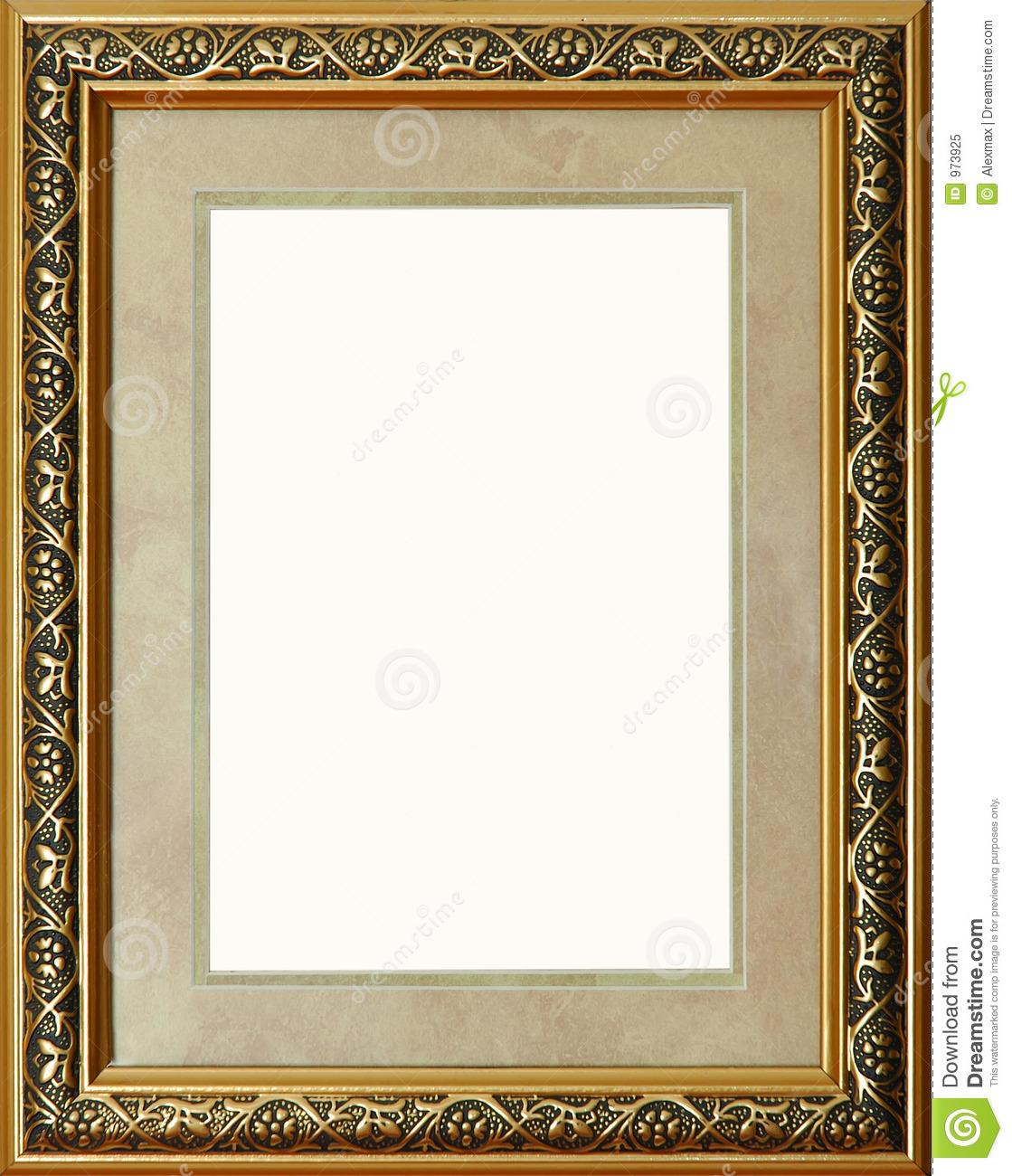 Antique Rustic Golden Picture Frame Isolated Stock Image
