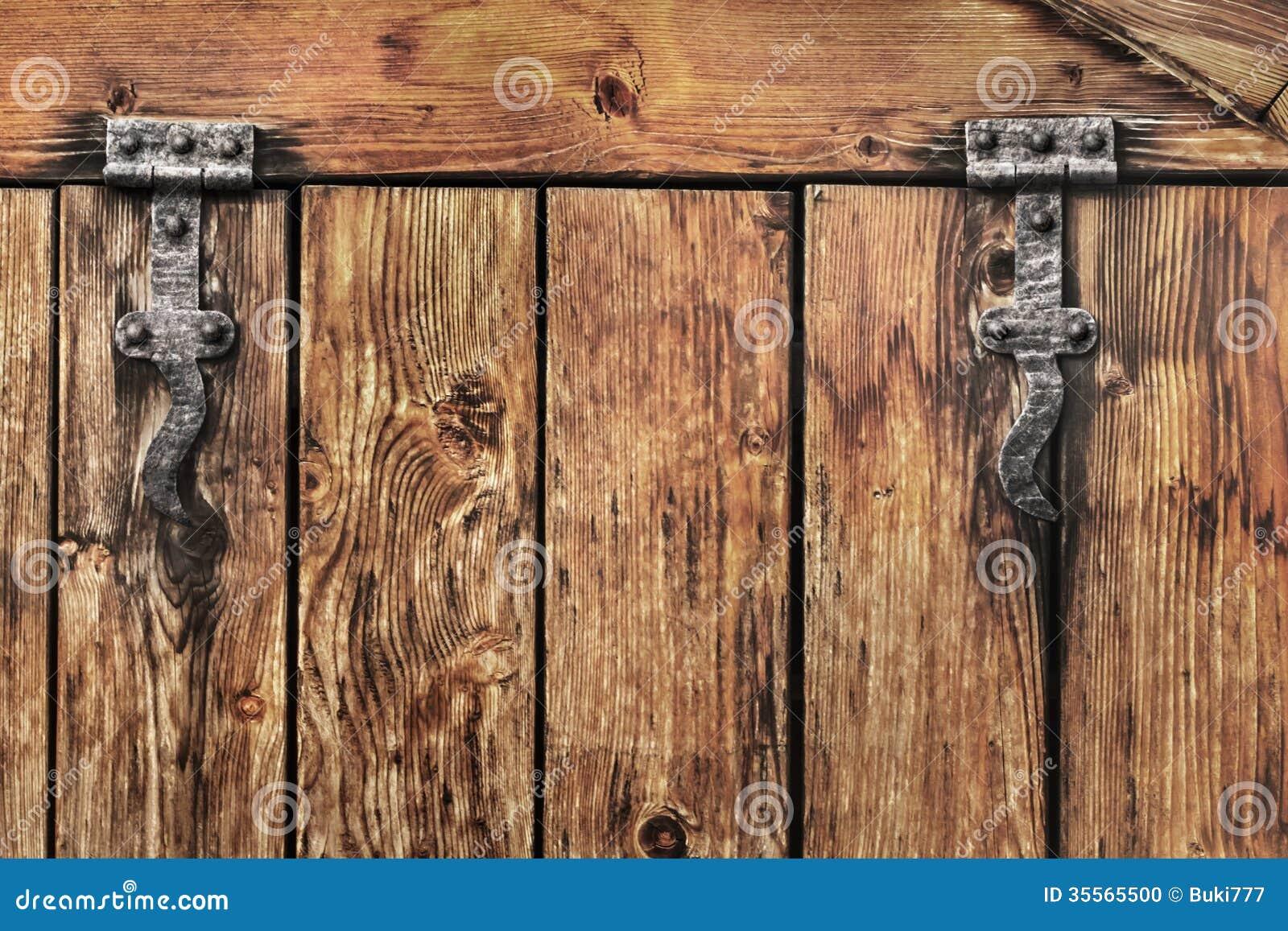 Antique Rustic Pine Wood Barn Door Detail Stock Photo