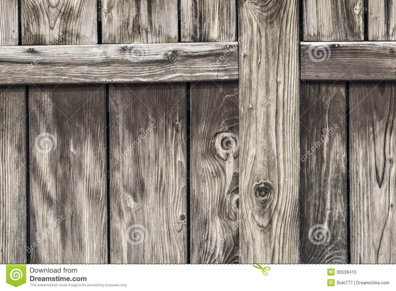 Antique rustic pine wood barn door detail stock image