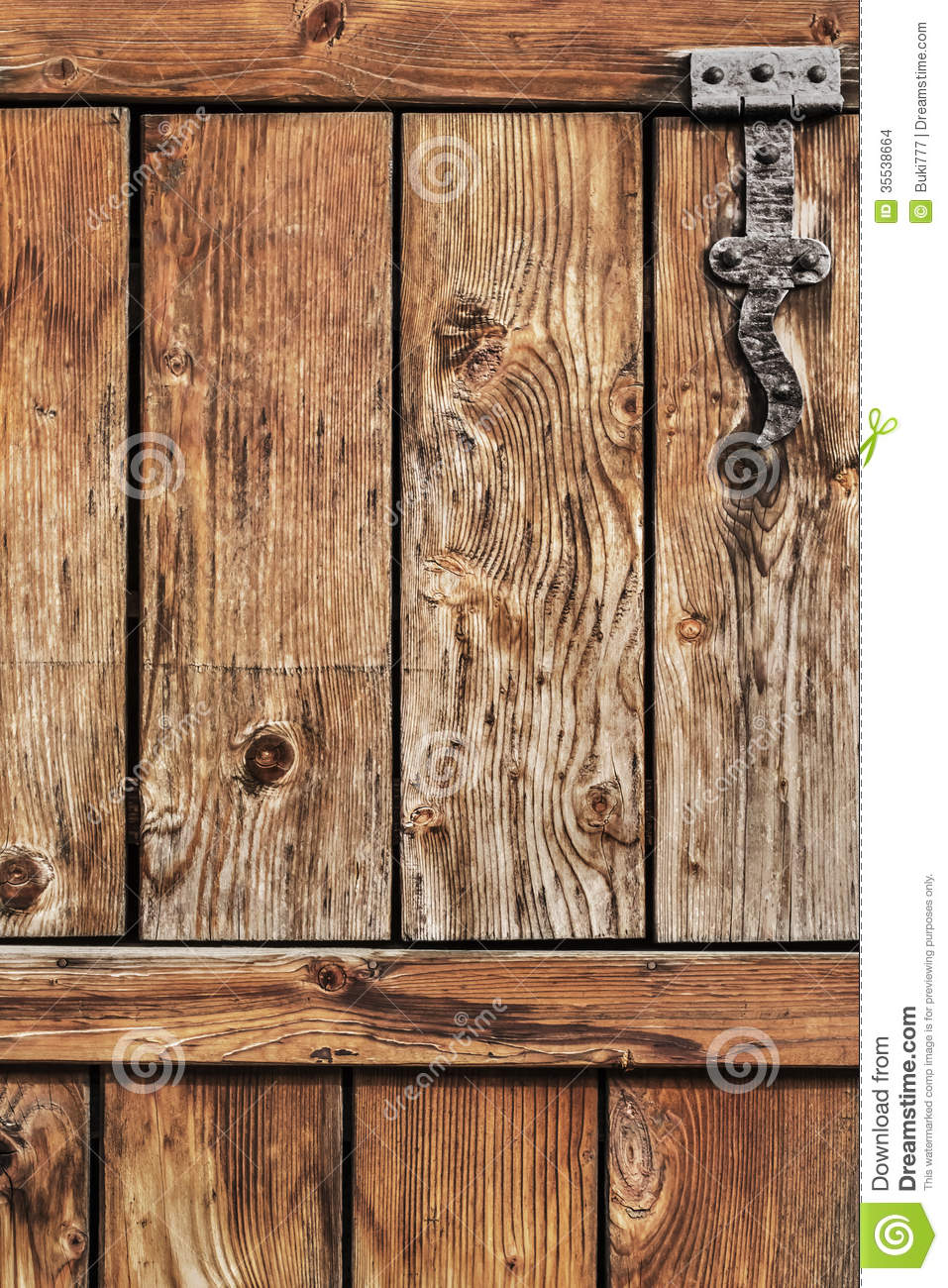 Antique Rustic Pine Wood Barn Door Detail Stock Photo
