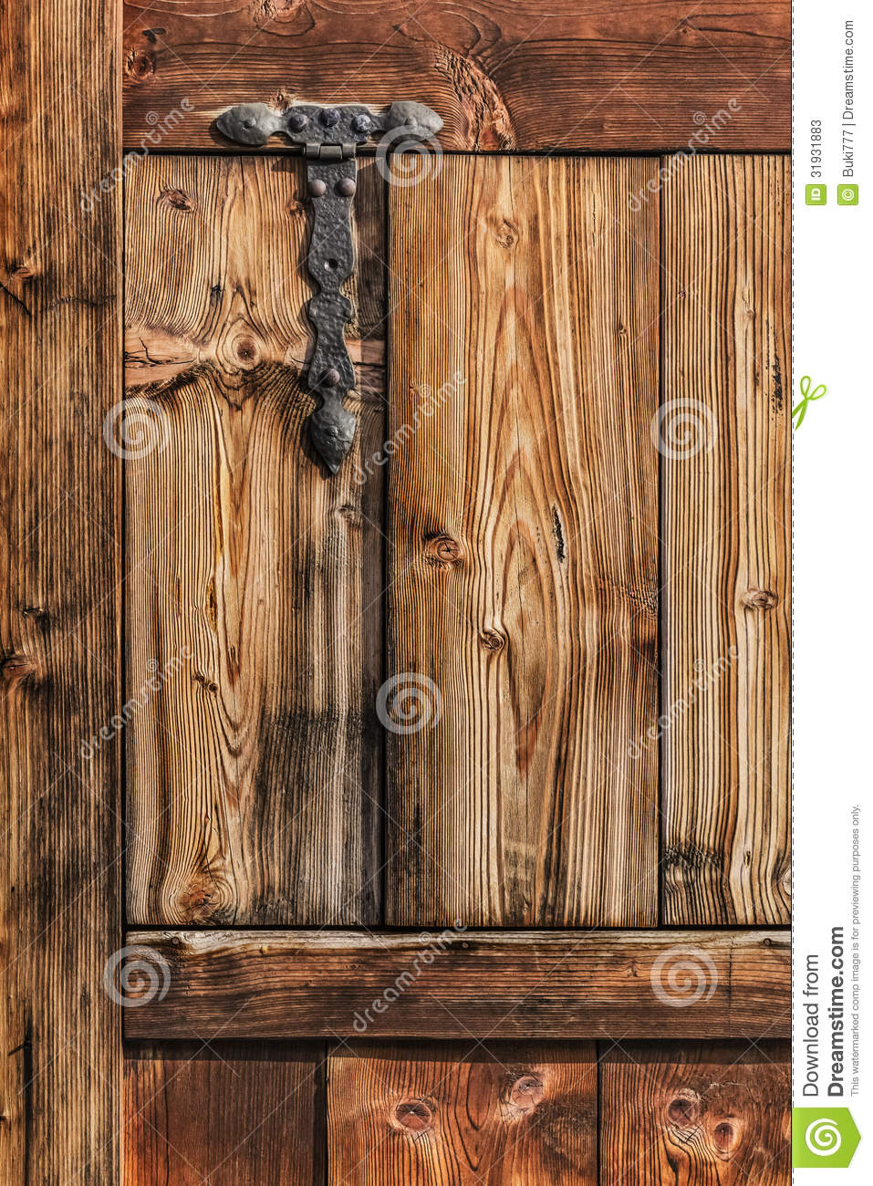 Antique Rustic Pine Wood Door With Wrought Iron Hi Stock