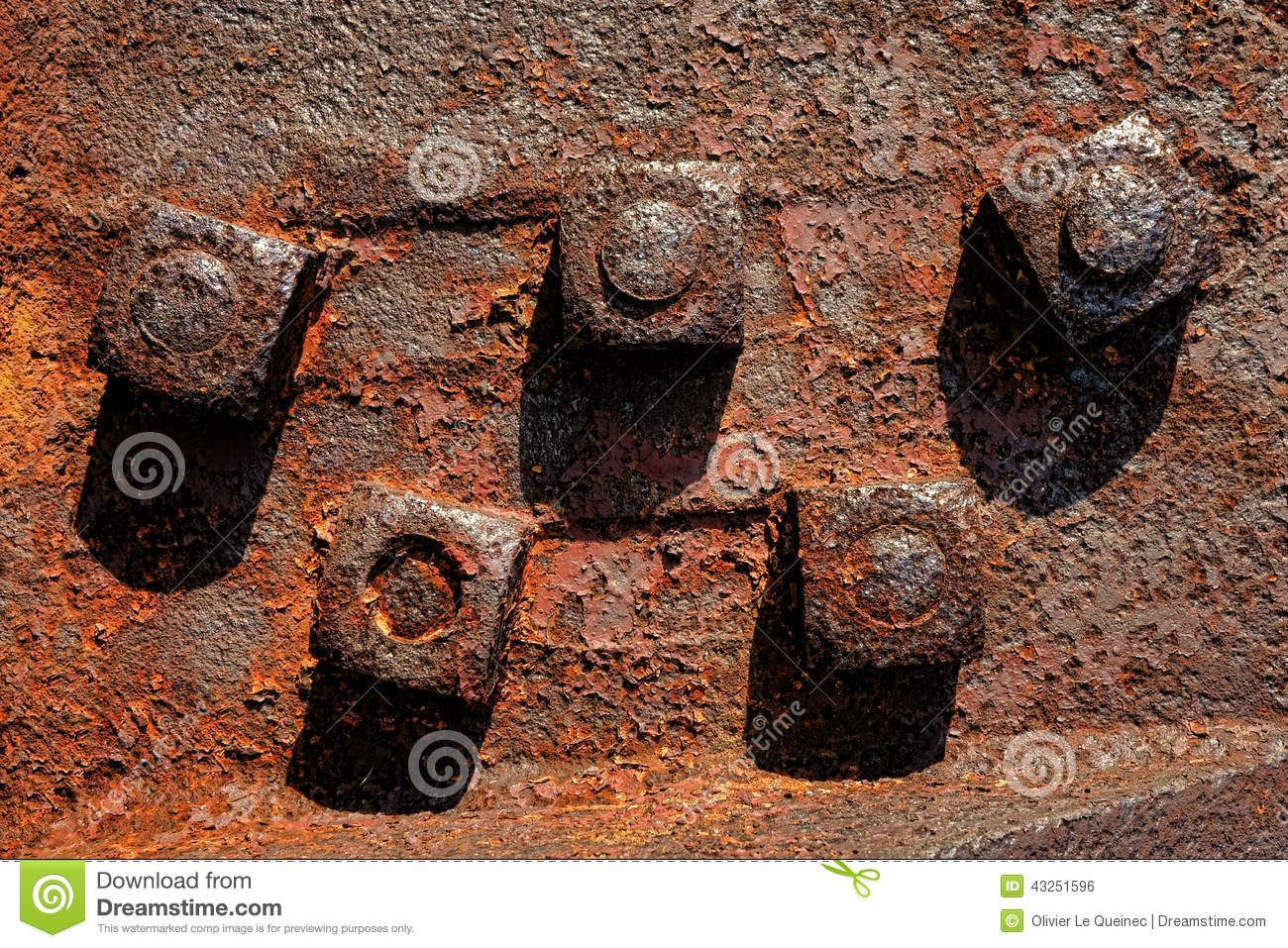 Antique Rusty Nuts on Industrial Rust Metal Bolts