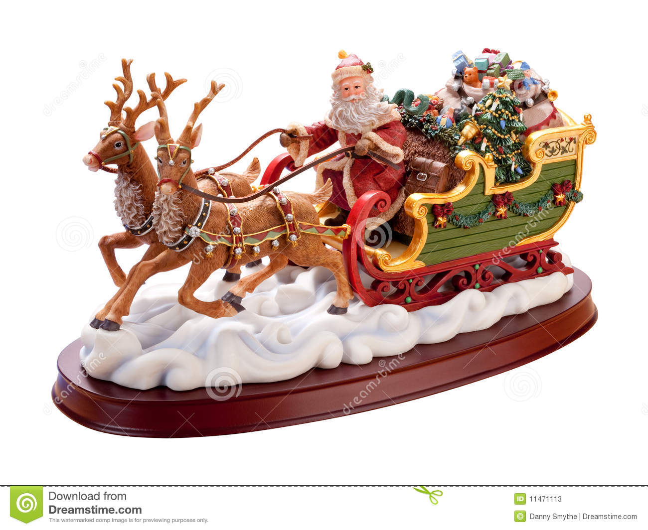 Antique Santa Sleigh with a clipping path isolated on white.Full focus ...