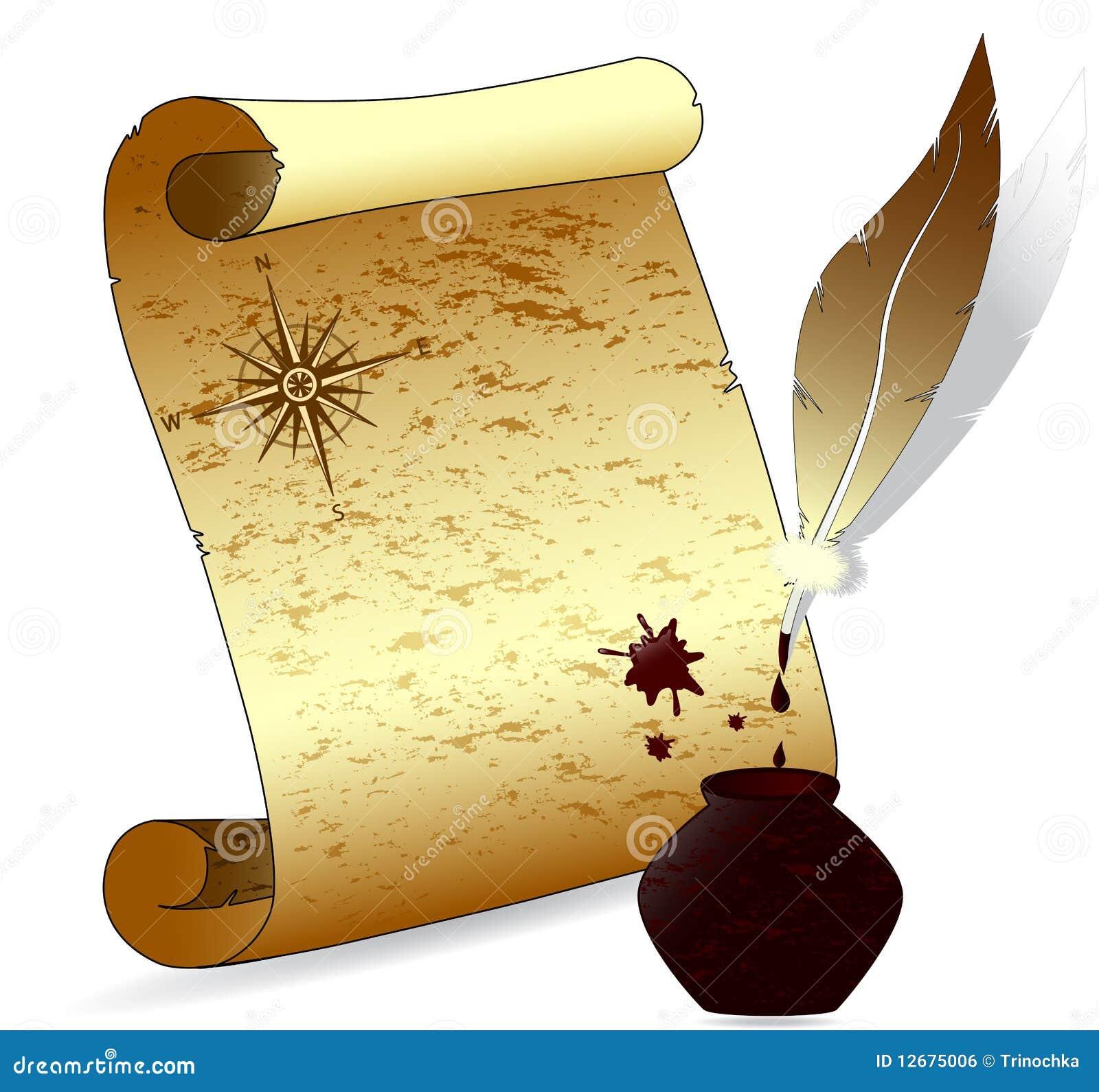 Antique Scroll Paper: Antique Scroll Paper. Vector Royalty Free Stock Image