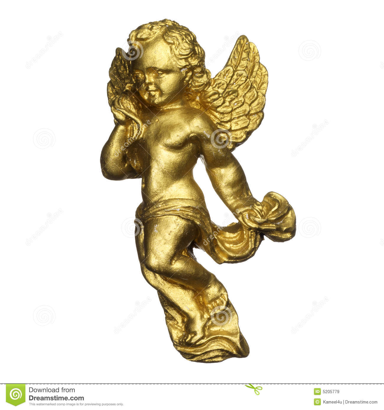 antique sculpture of a golden angel royalty free stock