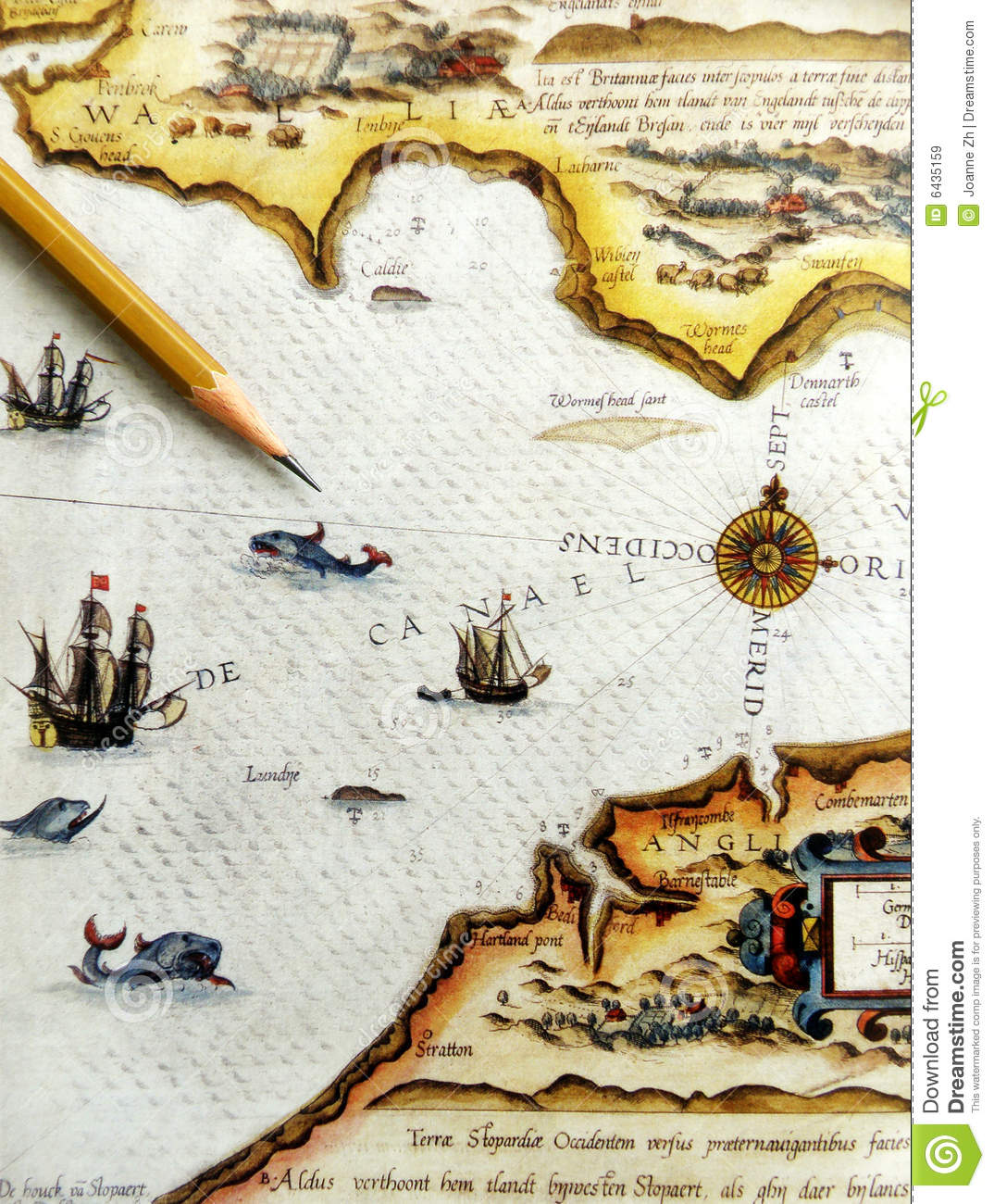 Antique sea navigation map