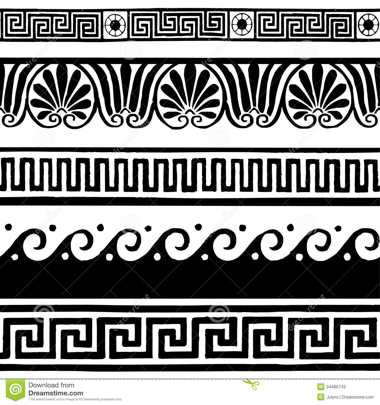 Line Art Designs For Borders : Antique seamless borders hand drawing stock vector