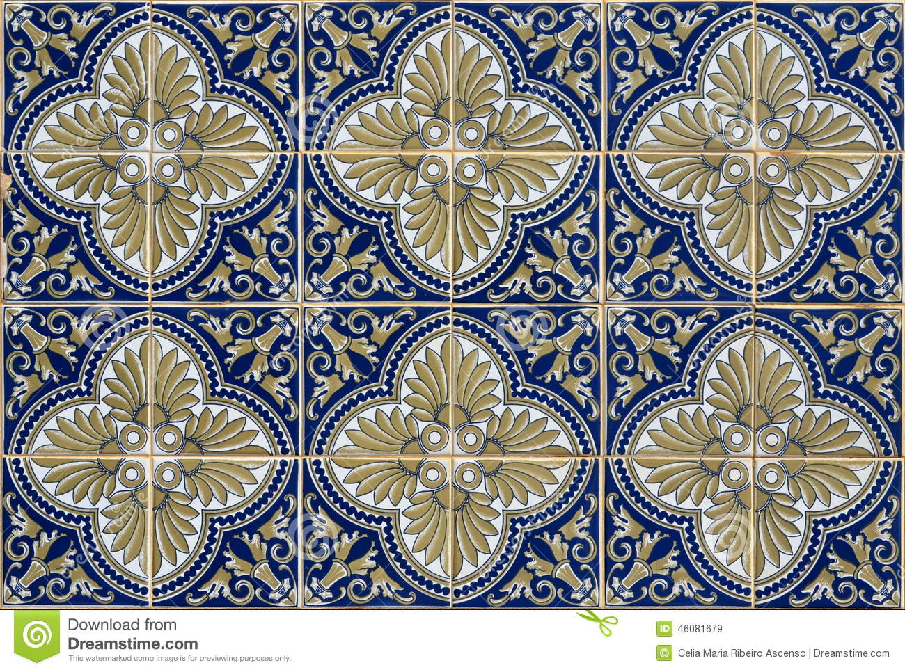 Antique seamless portuguese tiles stock image image for Azulejos clasicos