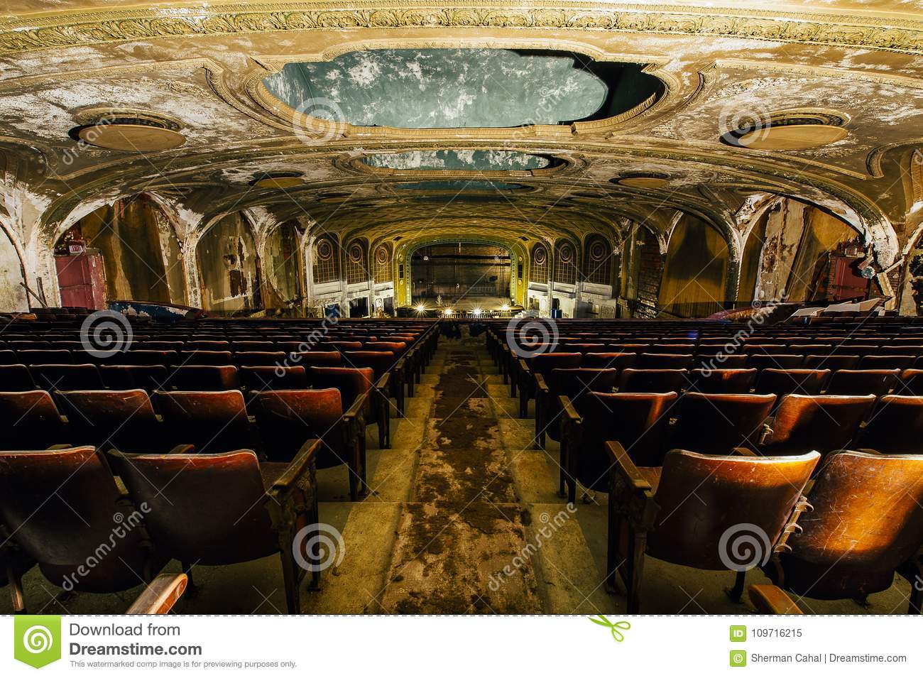 Download Antique Seats   Abandoned Variety Theater   Cleveland, Ohio Stock  Image   Image Of