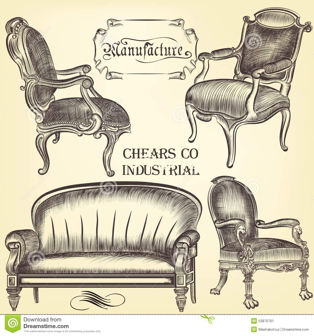 Antique chair drawing - Antique Set Of Vector Hand Drawn Chairs
