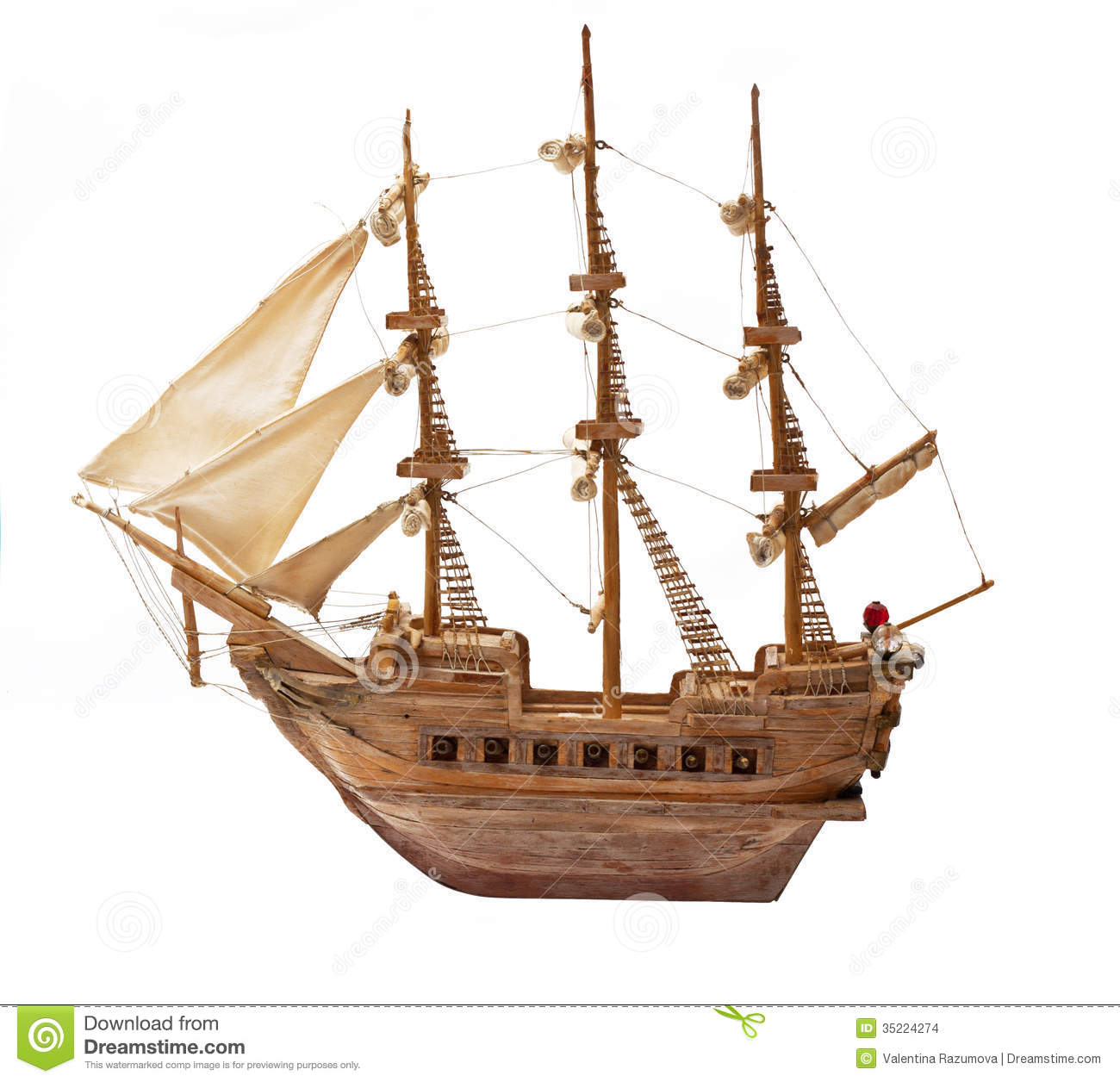 Antique Ship As Wooden Model Stock Images - Image: 35224274