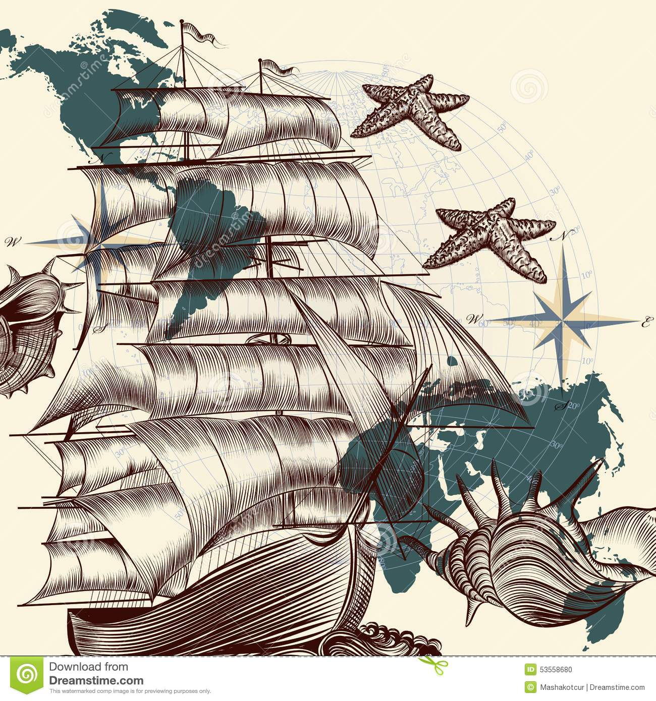 Antique Ship Shells And Map Tripping Theme Stock Vector