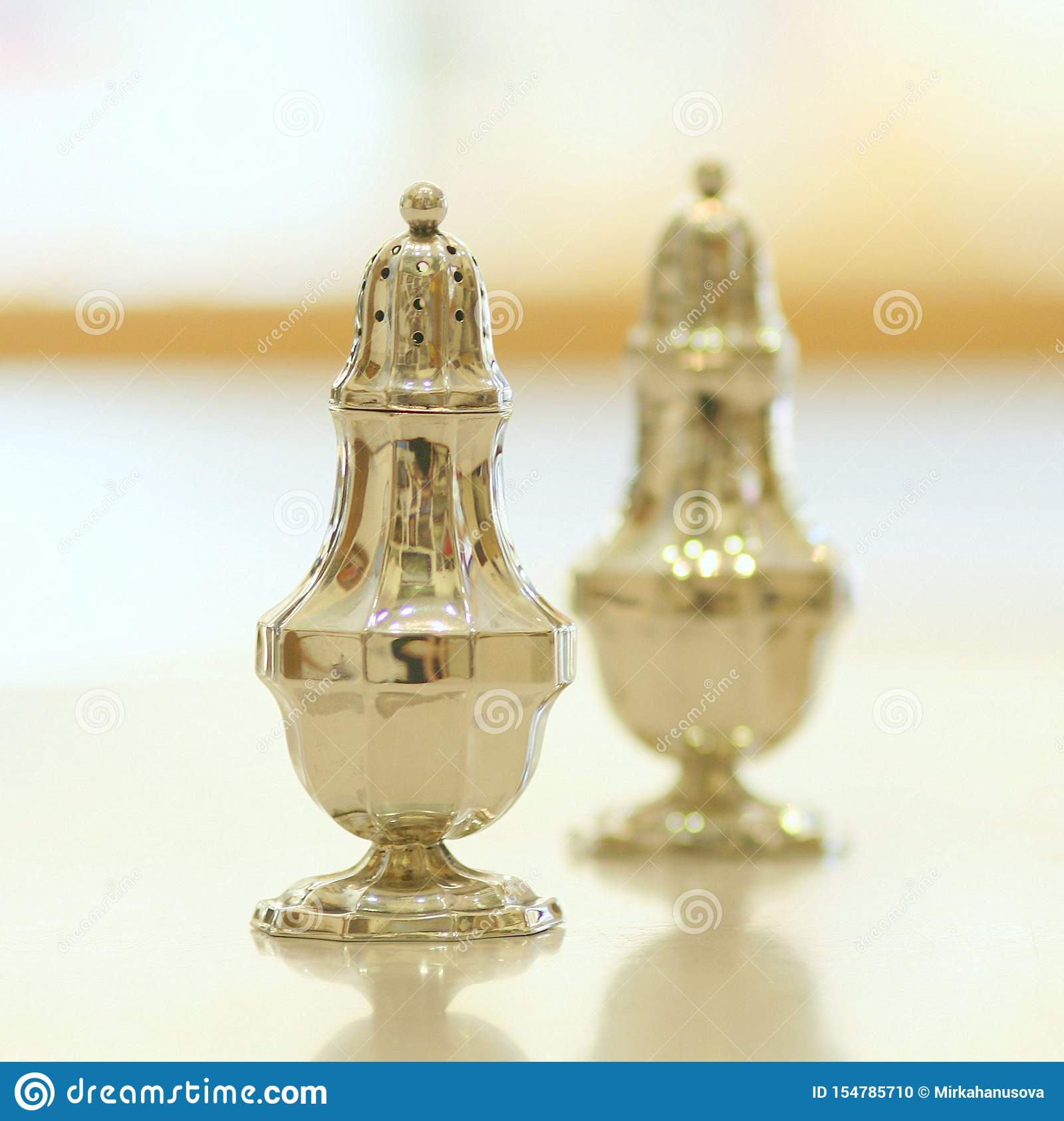 Antique Silver Salt And Pepper Shakers On White Background Stock Photo Image Of Vintage Bucket 154785710