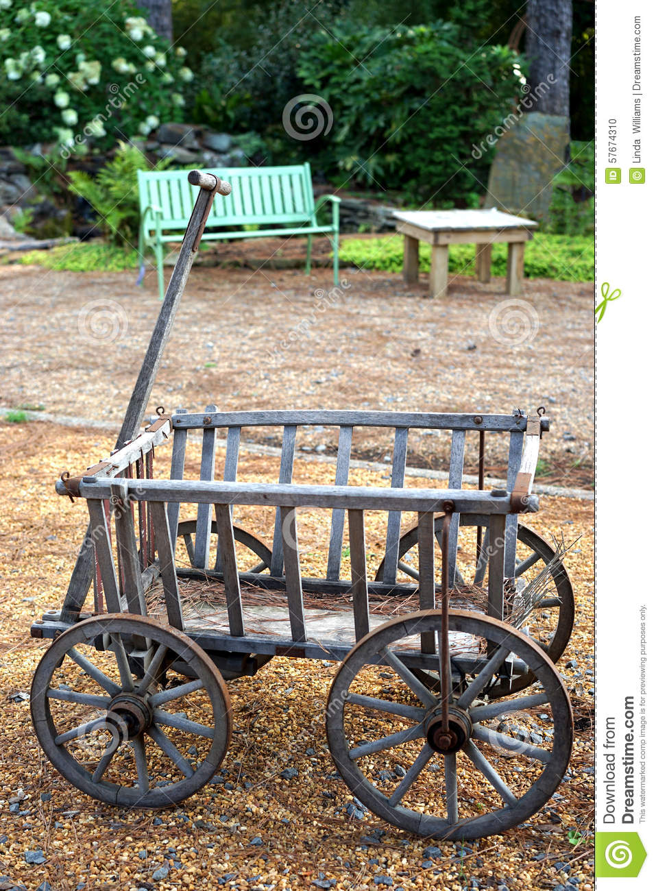 Compact Farm Wagons : Antique small wooden wagon stock photo image