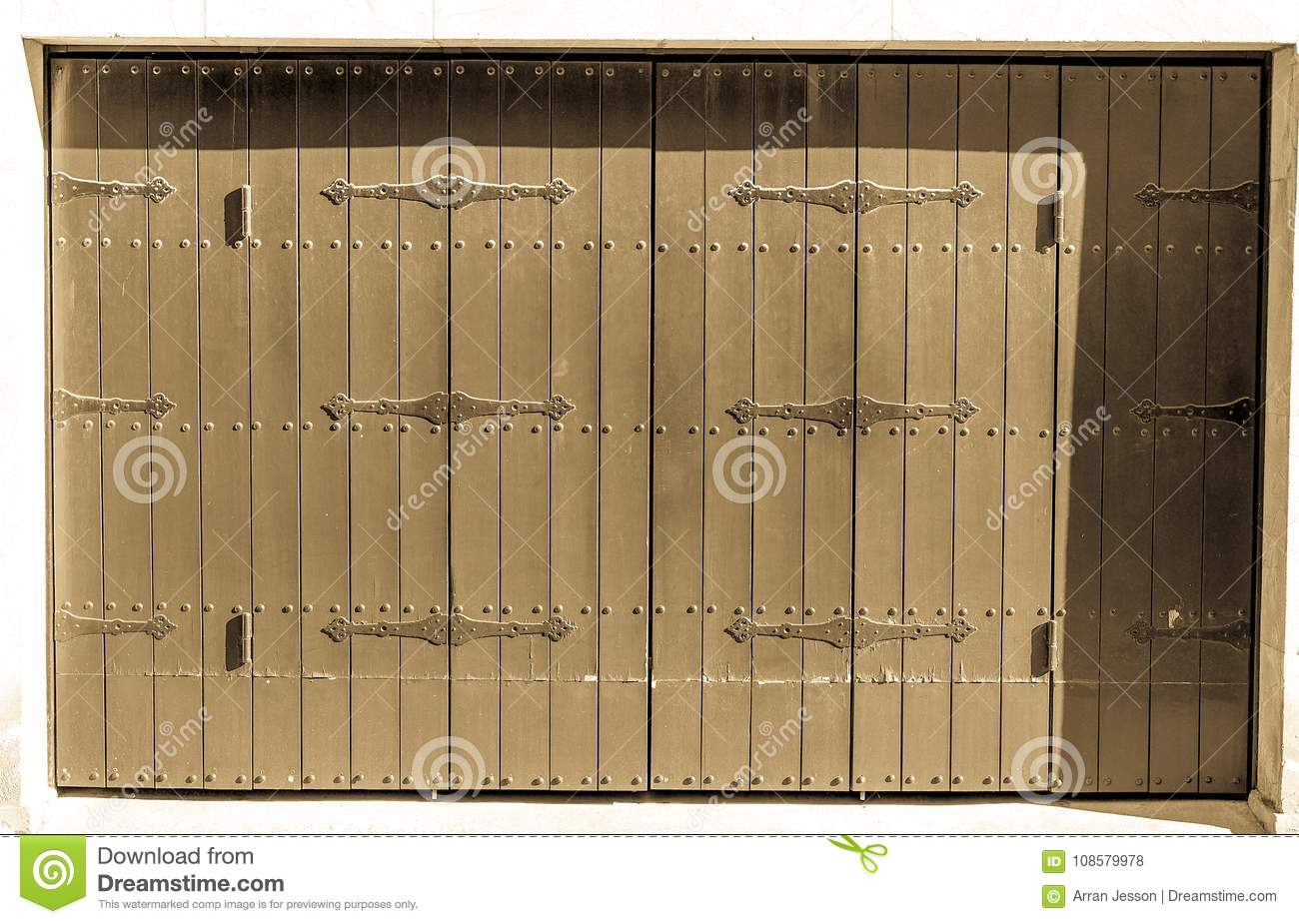 Download Antique Spanish Barn Doors, In The Shade On A Sunny Day Stock  Photo - - Antique Spanish Barn Doors, In The Shade On A Sunny Day Stock Photo