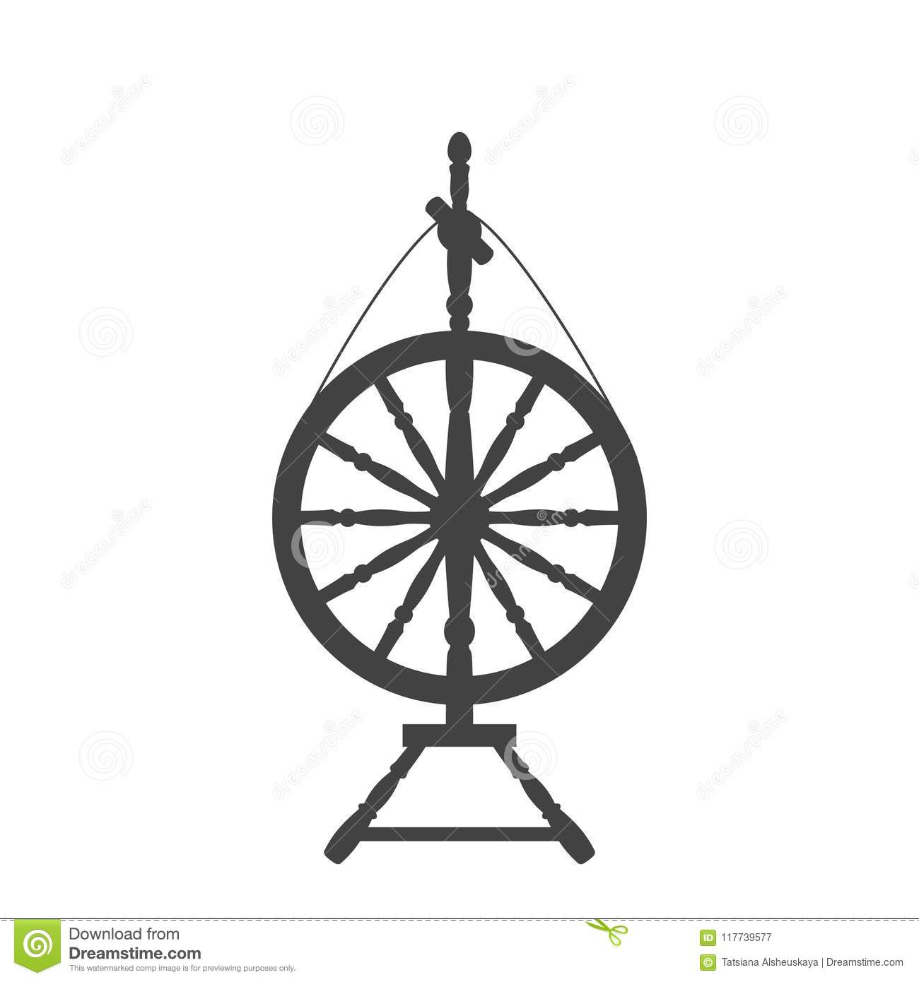 An Antique Spinning Wheel Icon Stock Vector Illustration Of Icon Wheel 117739577
