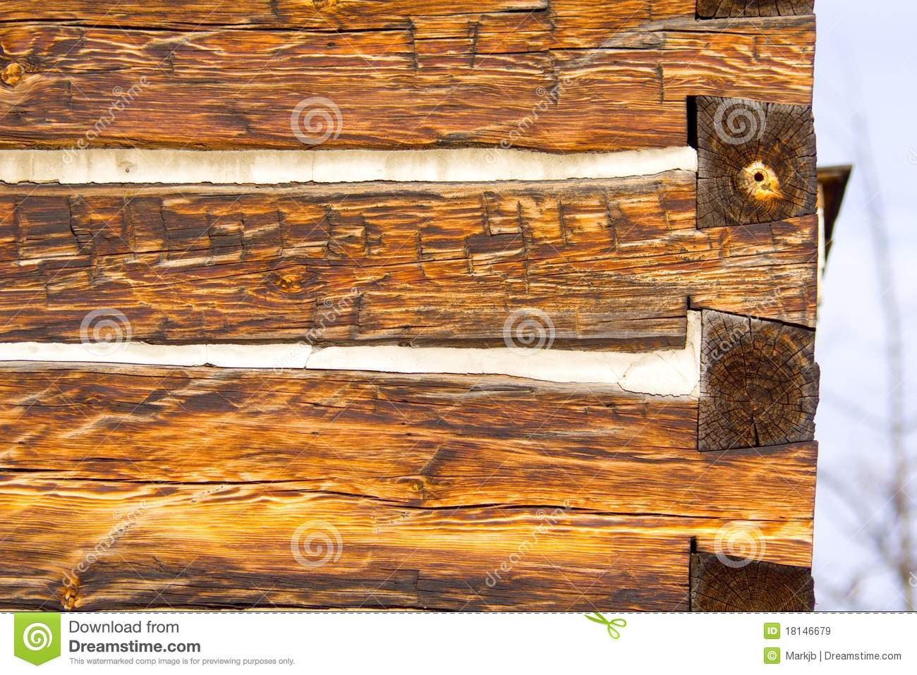 Antique square log cabin wall end royalty free stock for Square log cabin