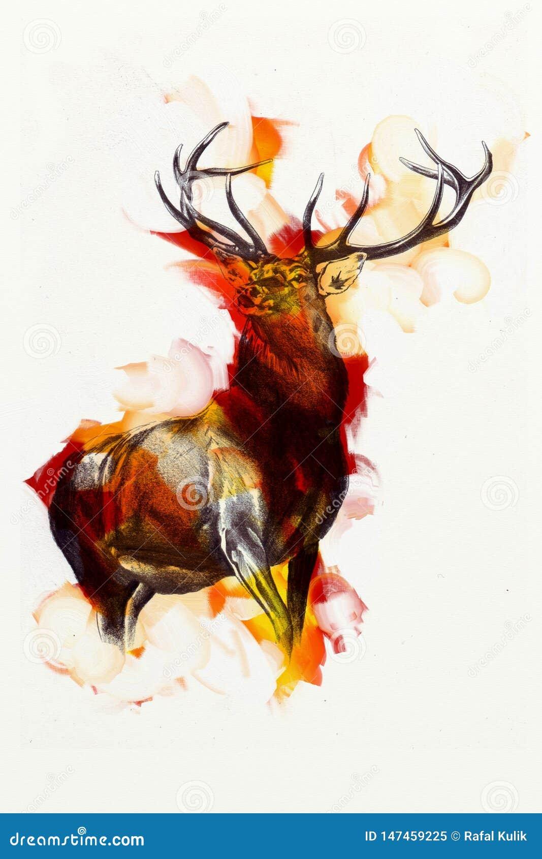 Antique Stag Art Drawing Handmade Nature Art Artwork Stock Illustration Illustration Of Head Field 147459225