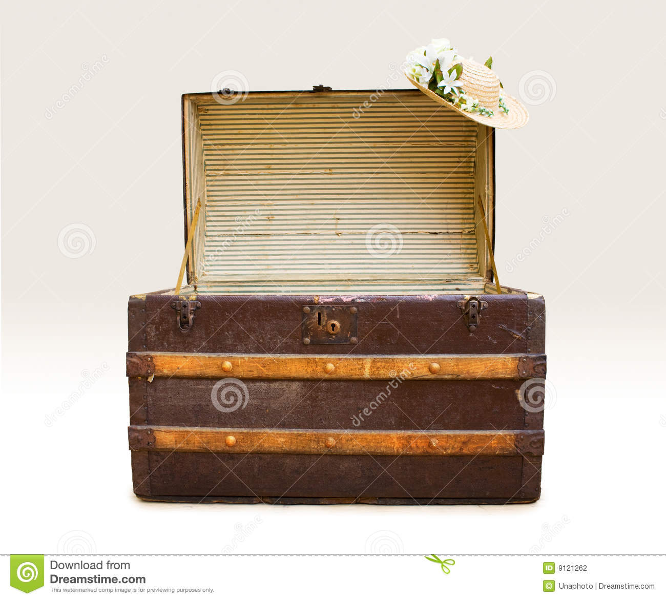 Antique Steamer Trunk With Straw Hat Stock Photography - Image ...