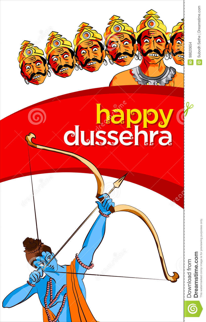 Antique Stock Illustration Of Happy Dussehra Greeting Card Stock