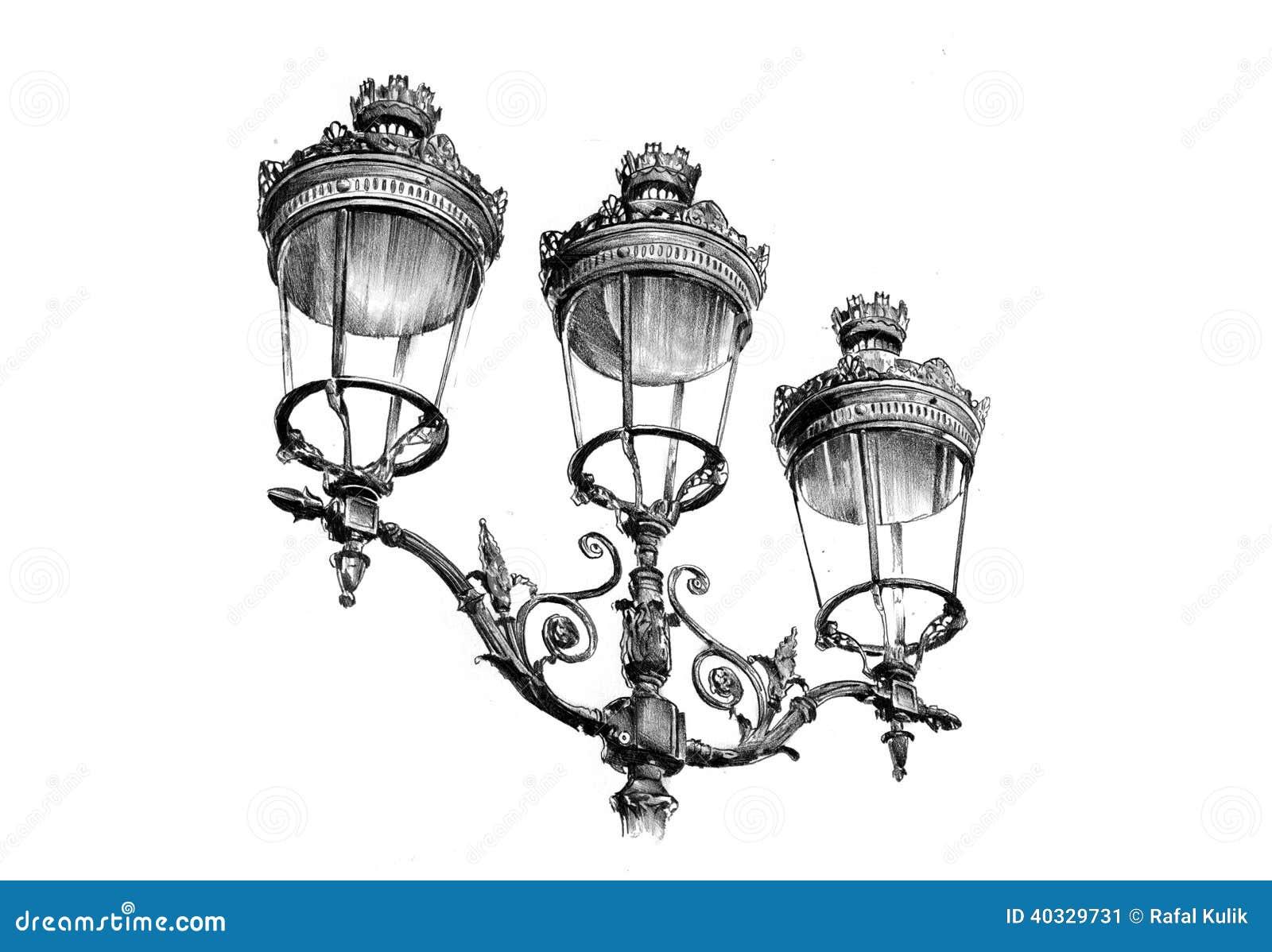 Antique Street Lantern Drawing Handmade Stock Illustration