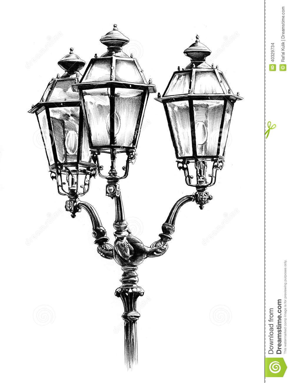 Antique Street Lantern Drawing Handmade Hand Lamp Royalty Free Stock Photo Download