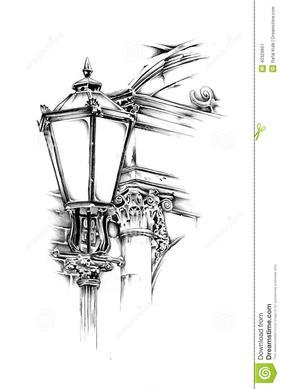 Antique Street Lantern Drawing Handmade Stock Illustration