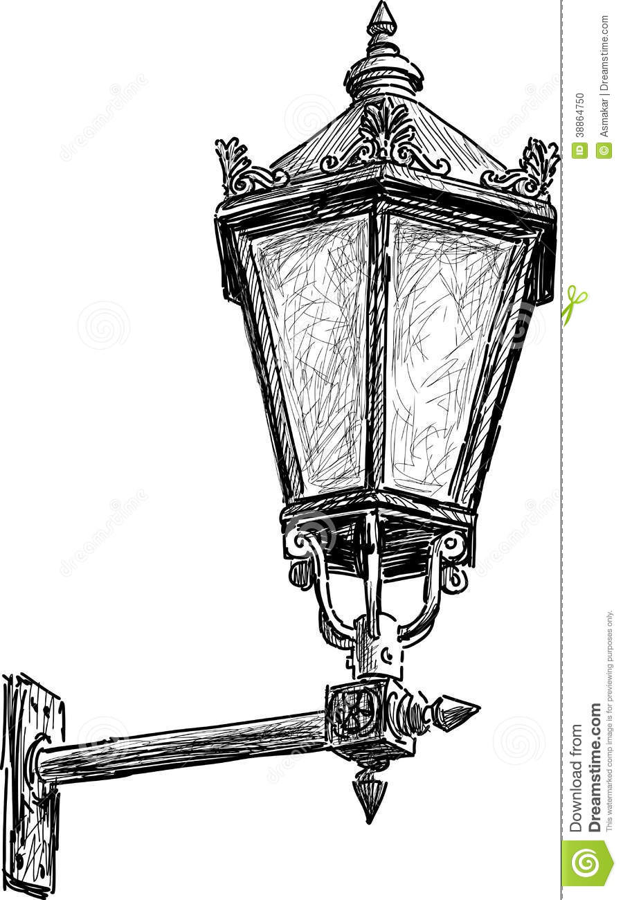 Antique street lantern stock vector. Illustration of vintage ... for Street Light Drawing  173lyp