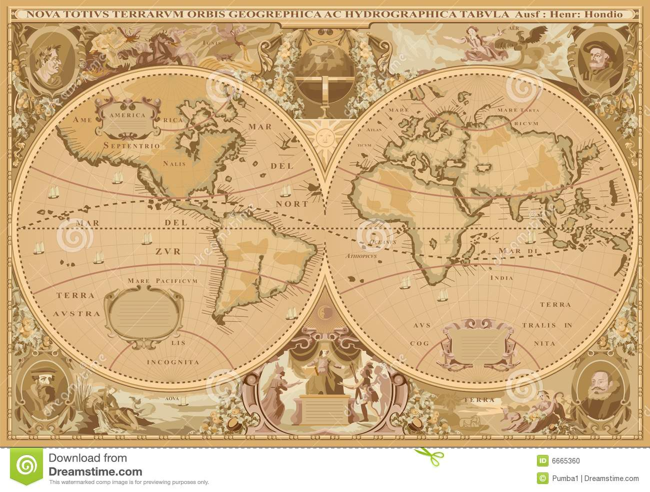 Antique style world map stock illustration image of navigation antique style world map gumiabroncs Gallery
