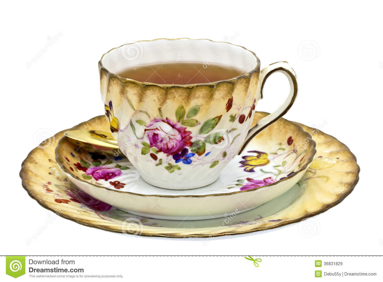 Antique Tea Cup With Tea. Royalty Free Stock Images - Image: 36831829