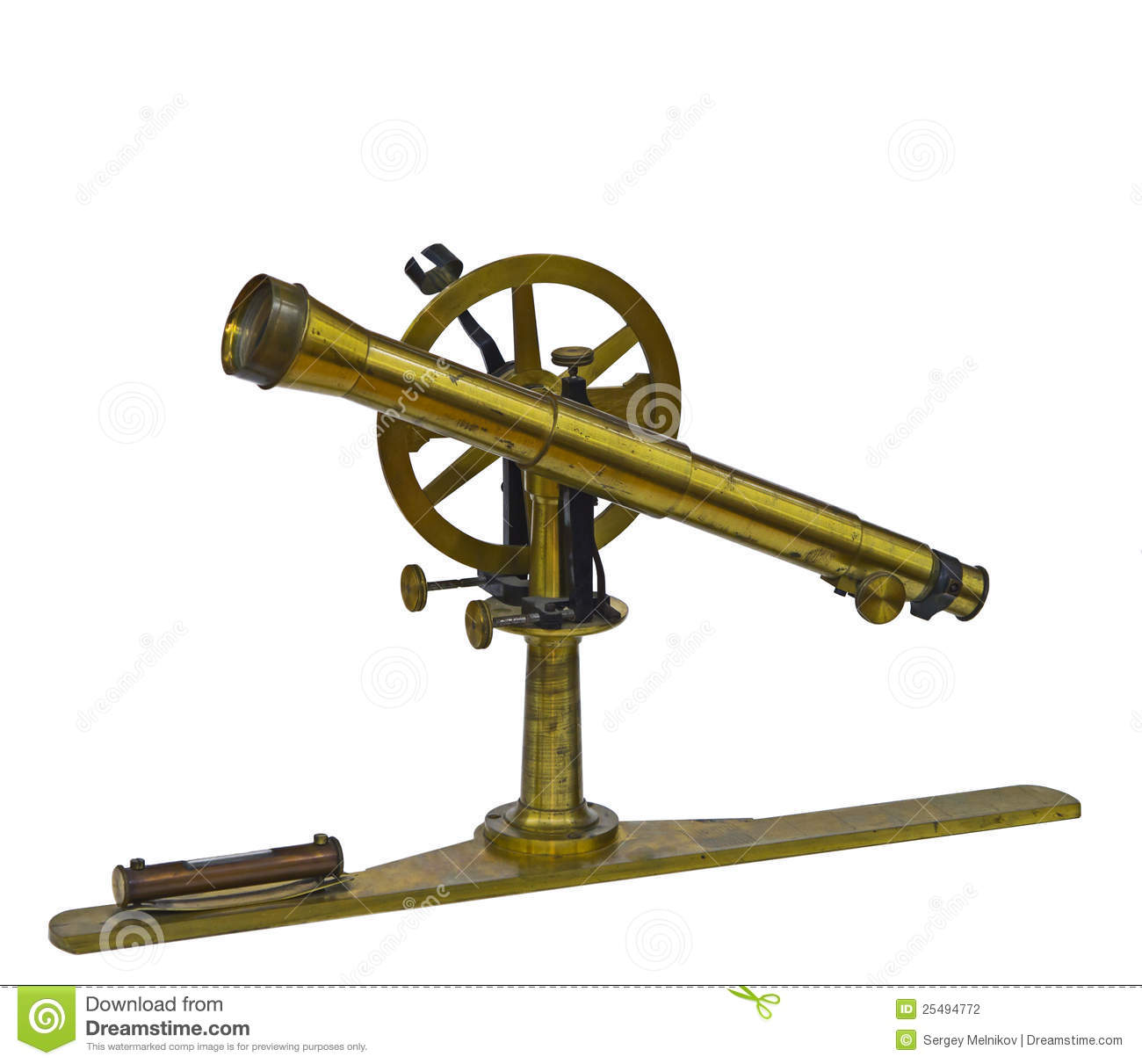 Time Measuring Instruments : Antique telescopic measuring instrument stock photography