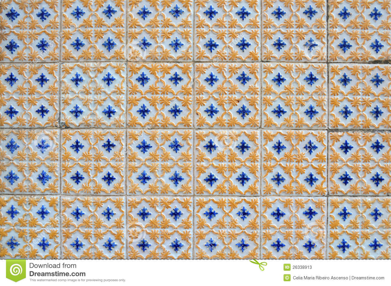 Antique Textured Portuguese Tiles Stock Photos Image
