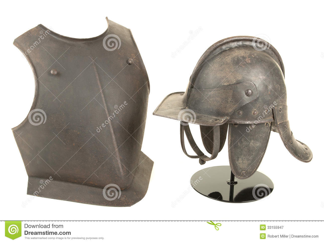 Antique 17th Century English Civil War Period Lobstertail Helmet And Breast Plate Royalty Free ...