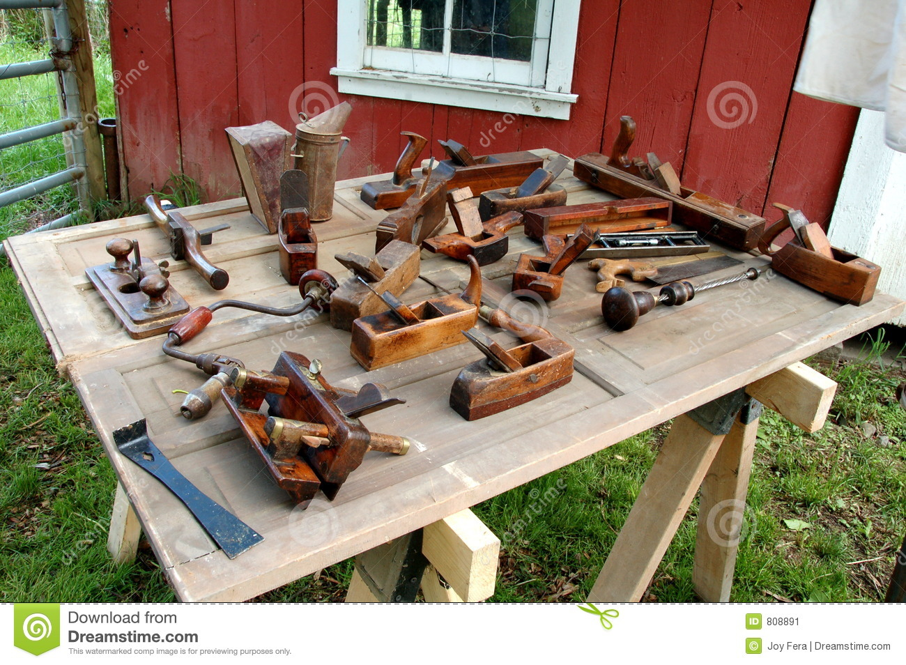Antique Tools On Bench Stock Image Image Of Crafted