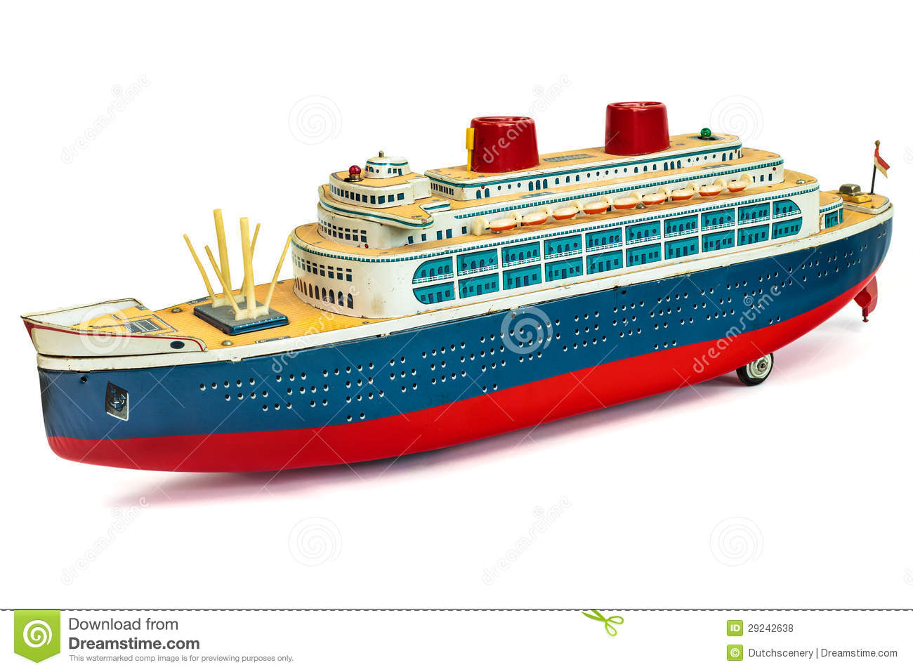Antique Toy Cruise Ship On White Royalty Free Stock Photos - Image ...