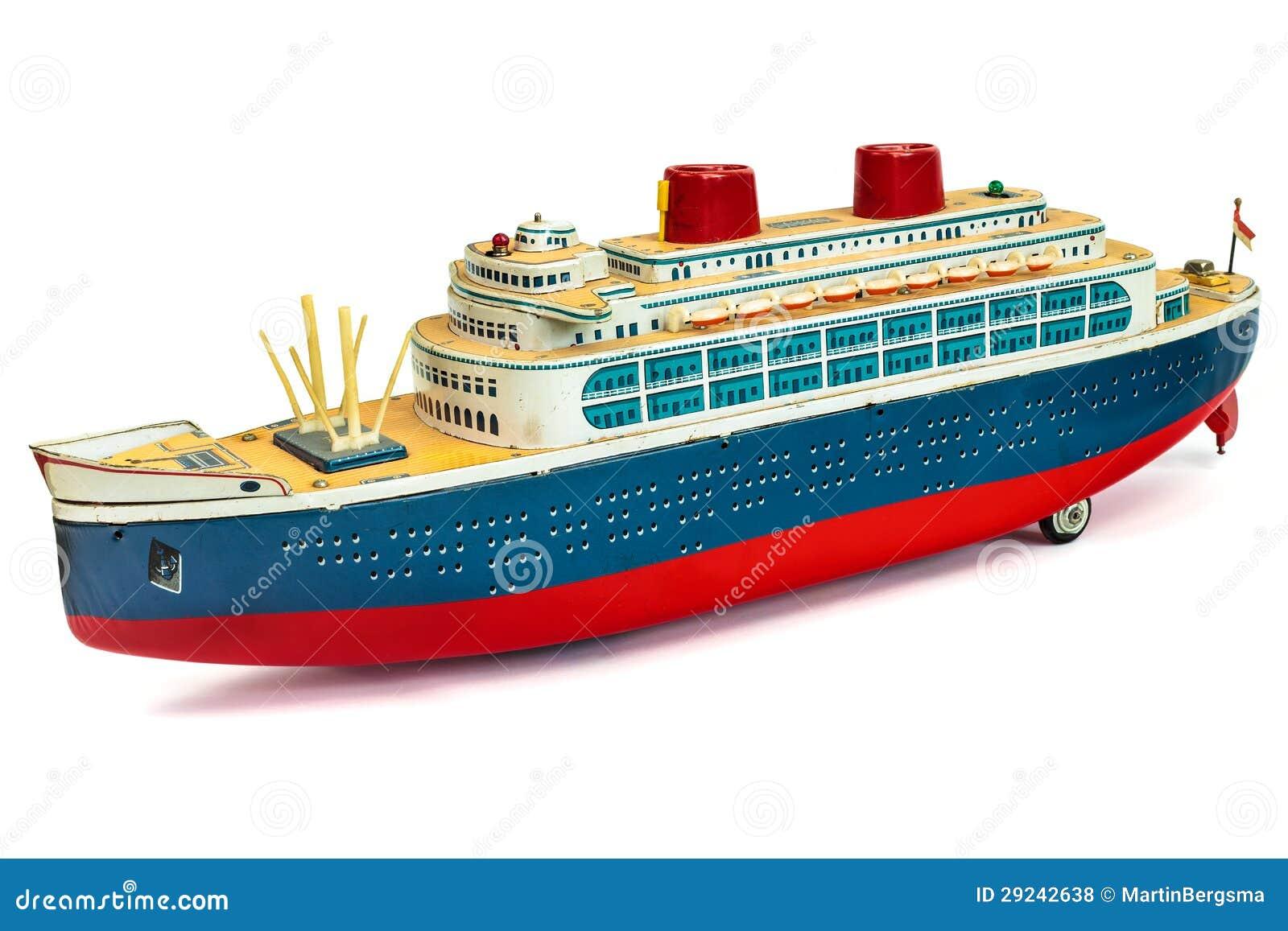 Antique Toy Cruise Ship On White Royalty Free Stock Photos - Image: 29242638