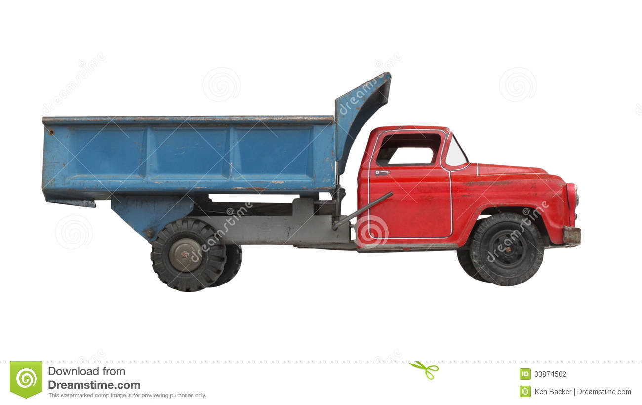 Awesome Vintage Toy Trucks Part - 14: Antique Blue Dump Isolated Metal Red Toy Truck ...
