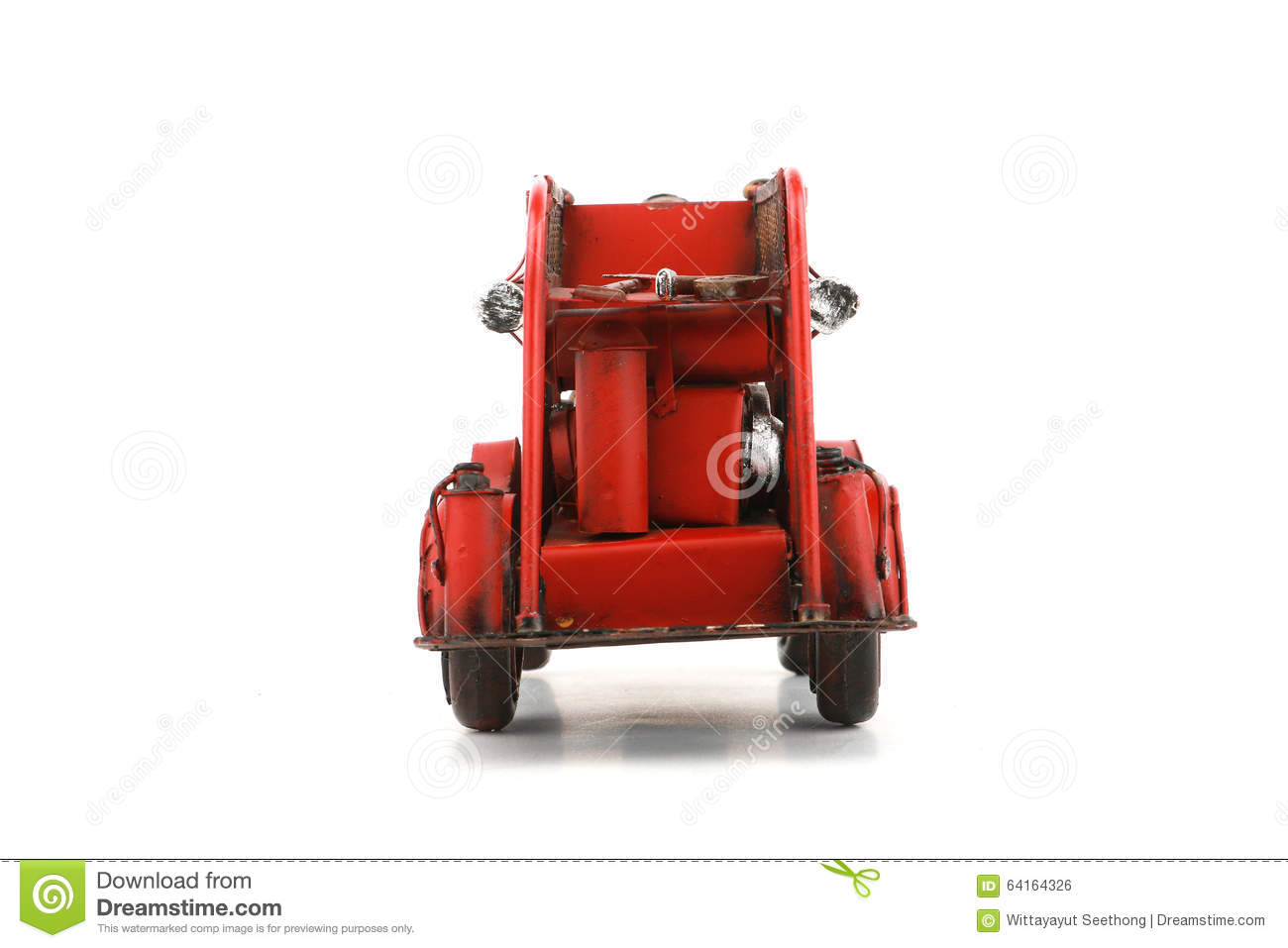 Antique Toy Fire Engine on white background, isolated