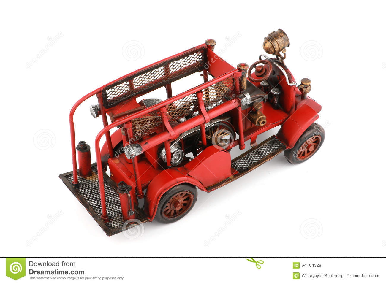 Download Antique Toy Fire Engine On White Background, Isolated Stock Photo - Image of antique, truck: 64164328